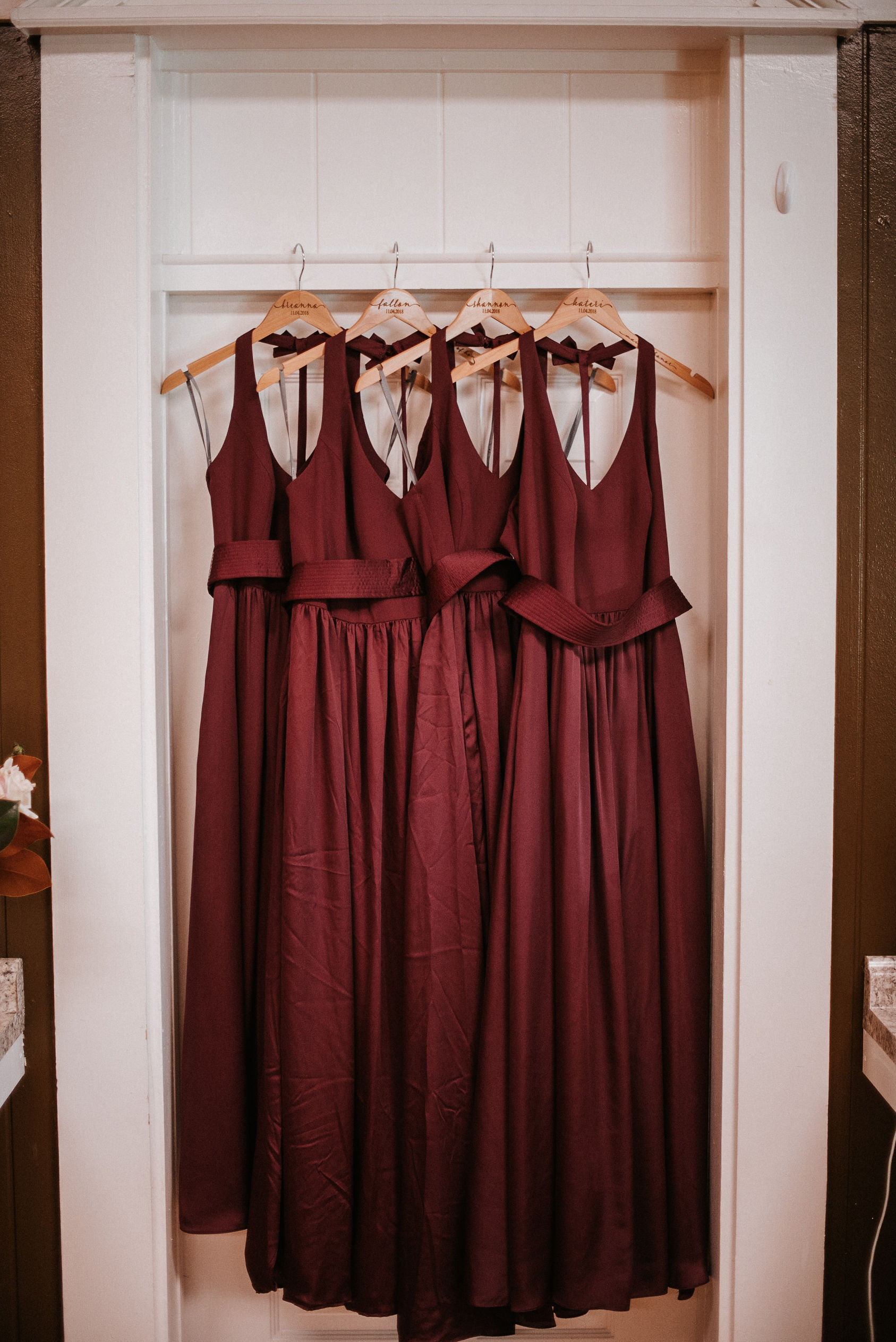 detail shot of bridesmaids dresses at the inn at the silk mill