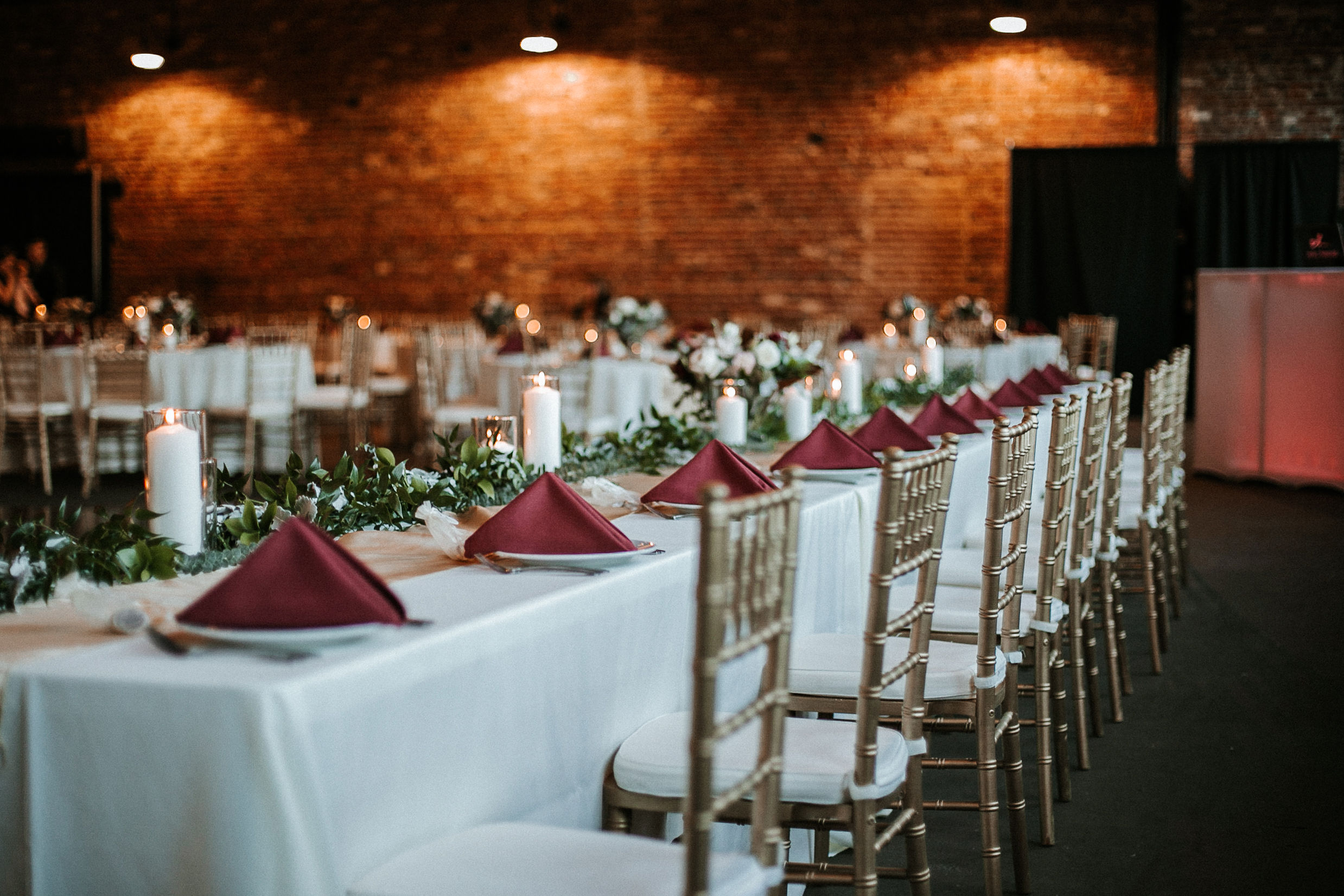 detail shot of reception table at the inn at the silk mill