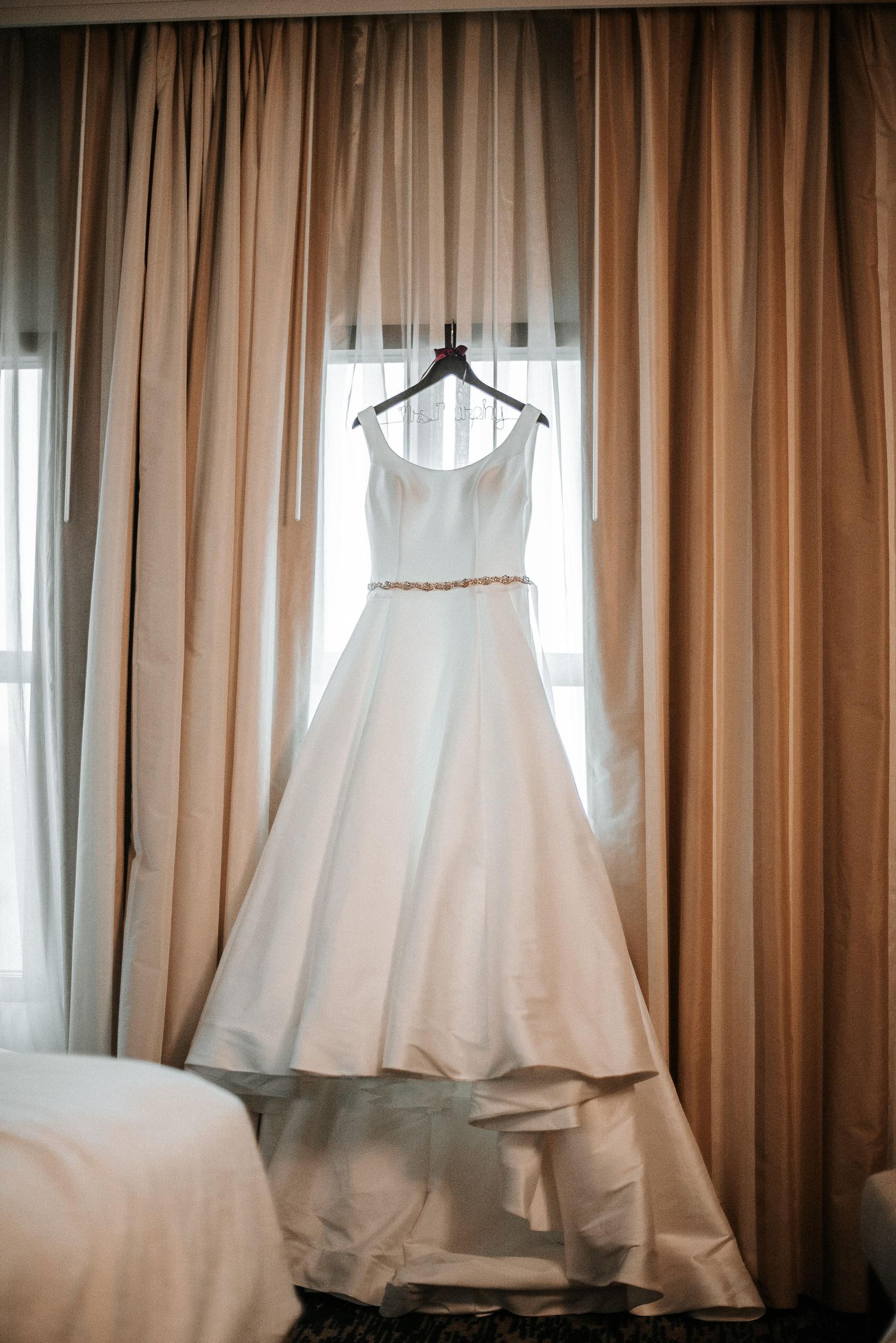 detail shot of bride's wedding dress The George Washington Masonic National Memorial