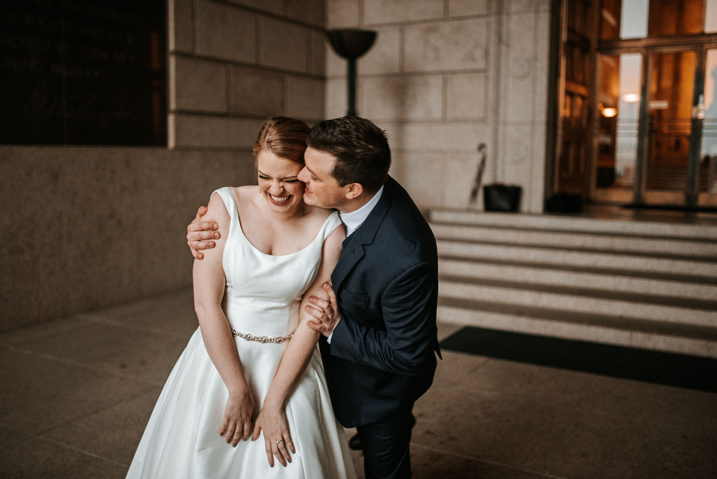 bride and groom laughing at The George Washington Masonic National Memorial