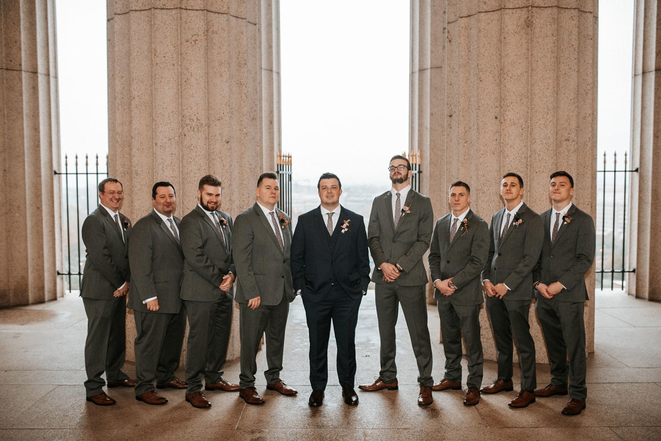 groomsmen posing at The George Washington Masonic National Memorial
