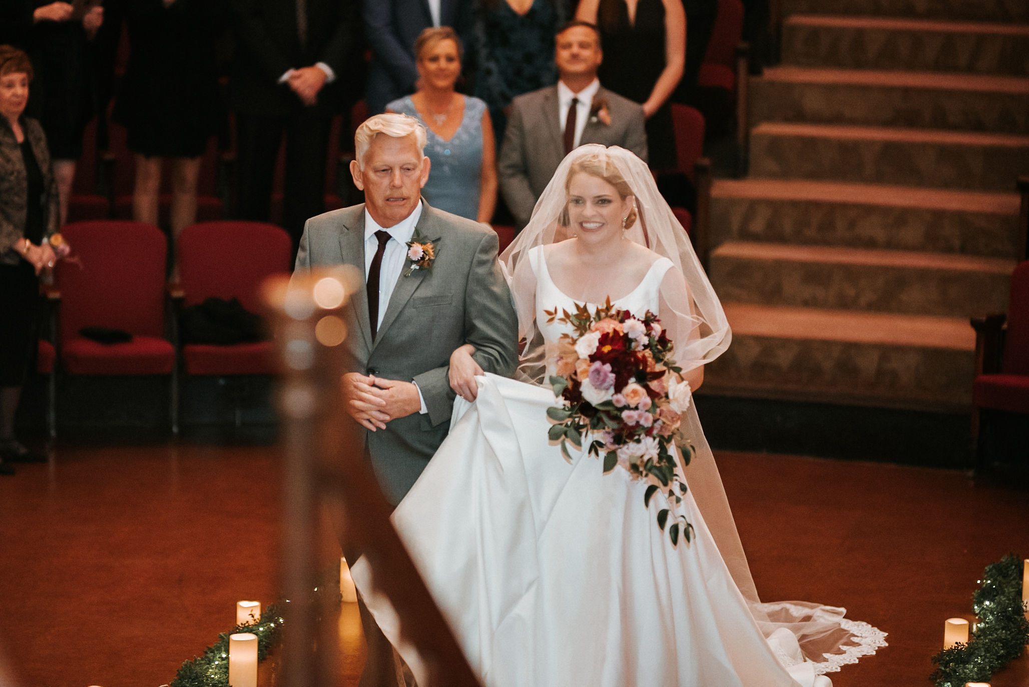 bride and father of the bride walking down the aisle at The George Washington Masonic National Memorial