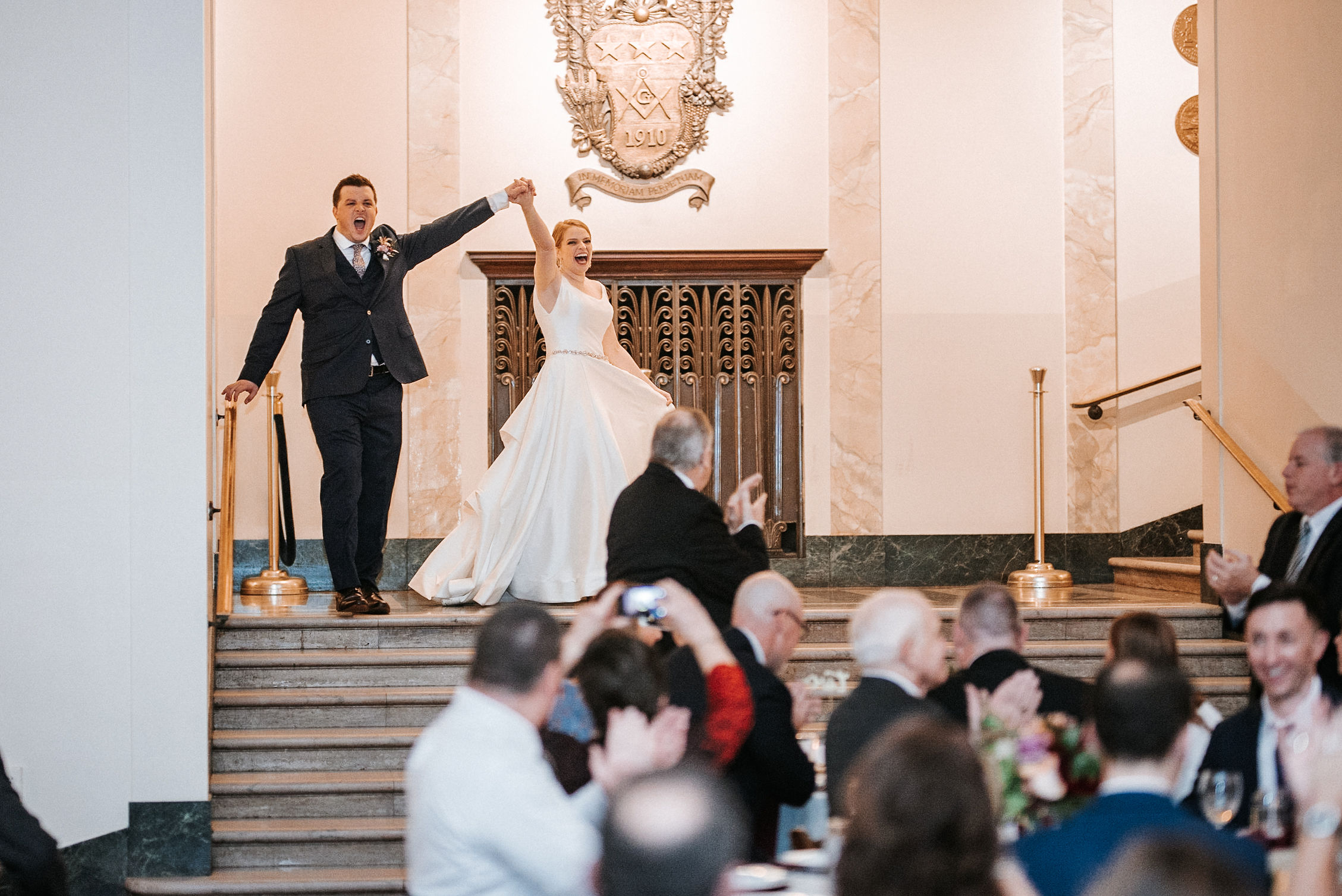 bride and groom entering reception at The George Washington Masonic National Memorial