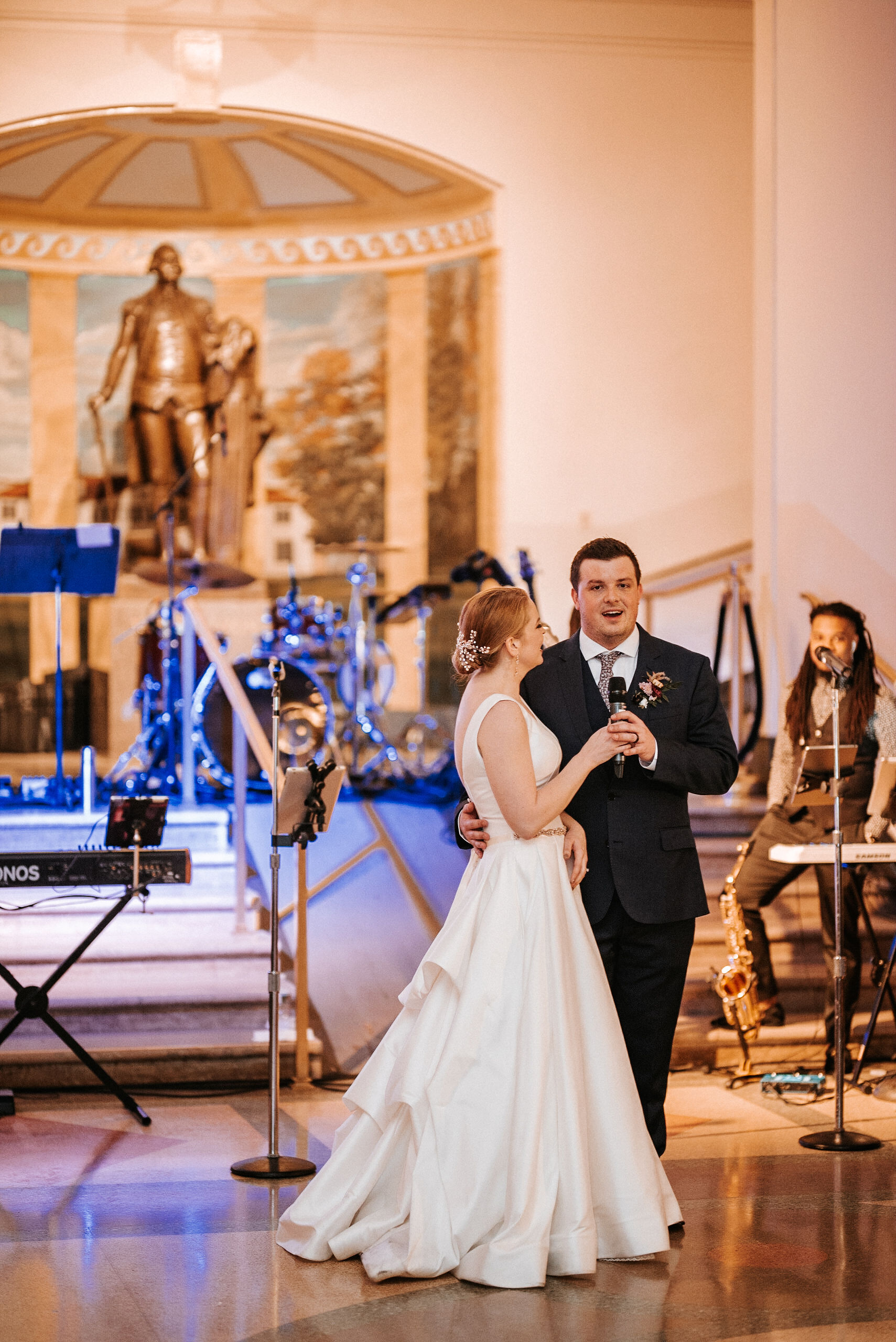 bride and groom making a speech at The George Washington Masonic National Memorial