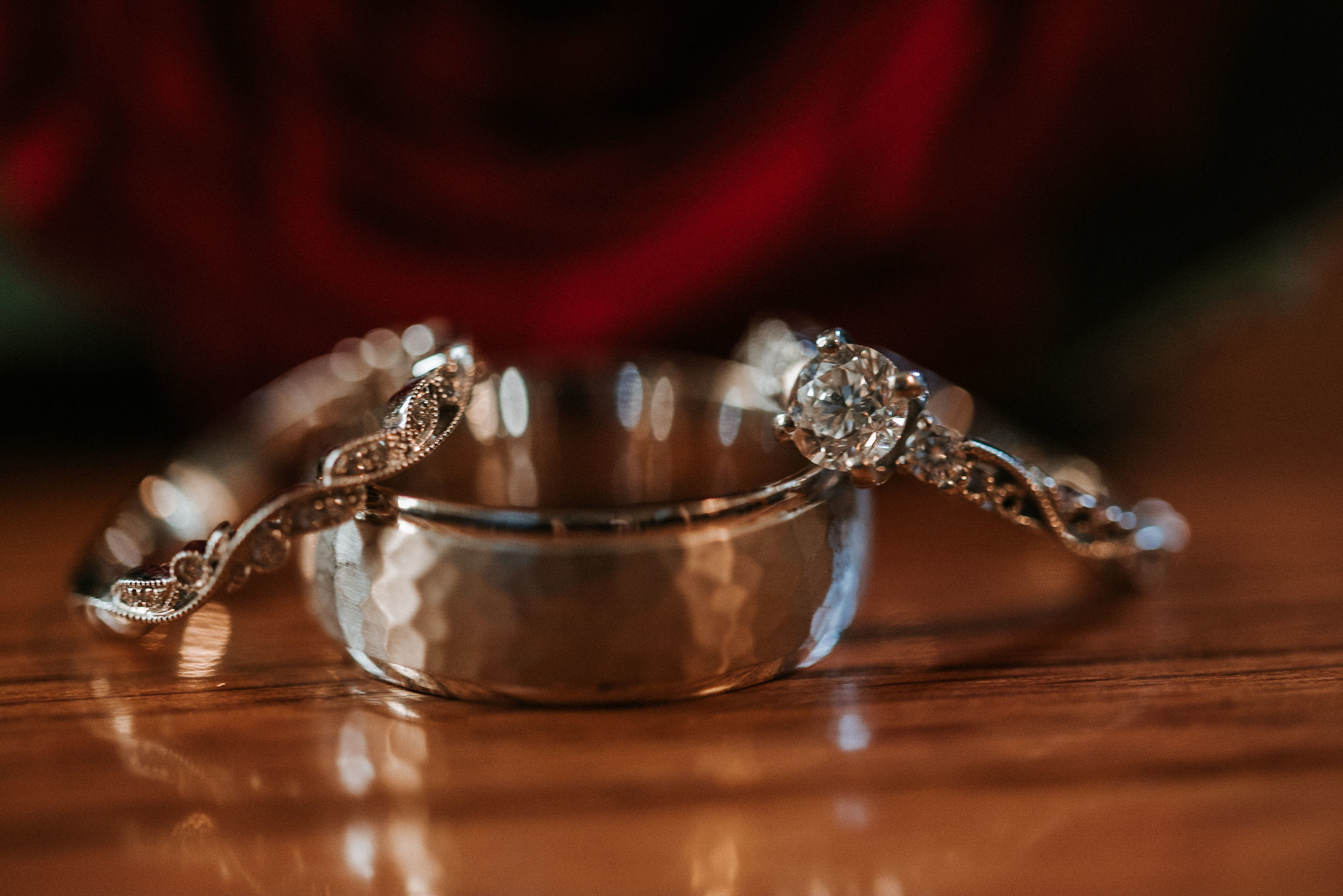 detail shot of wedding rings at the middleburg barn at fox chase farm