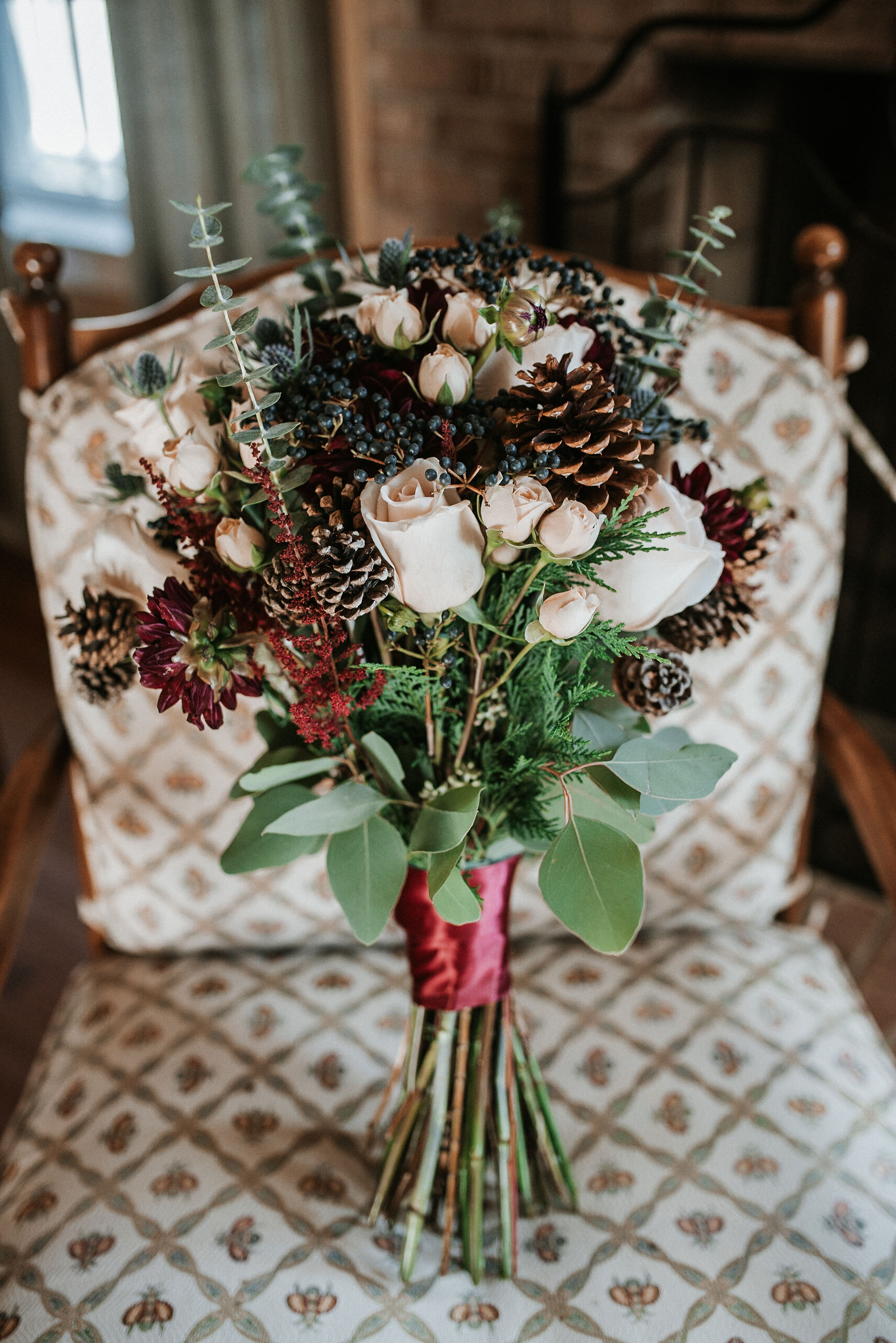 detail shot of bride's bouquet at the middleburg barn at fox chase farm