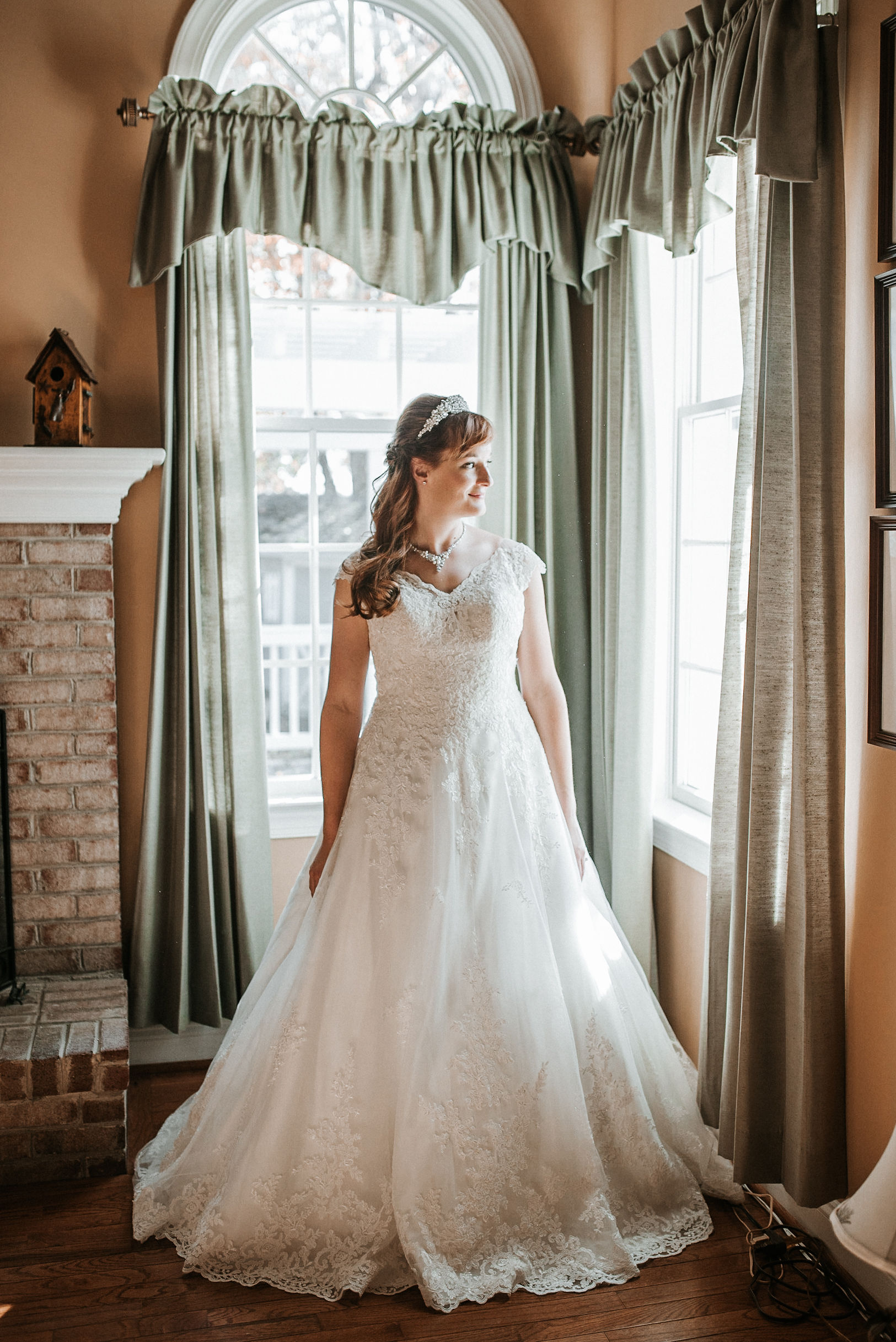 portrait of bride at the middleburg barn at fox chase farm