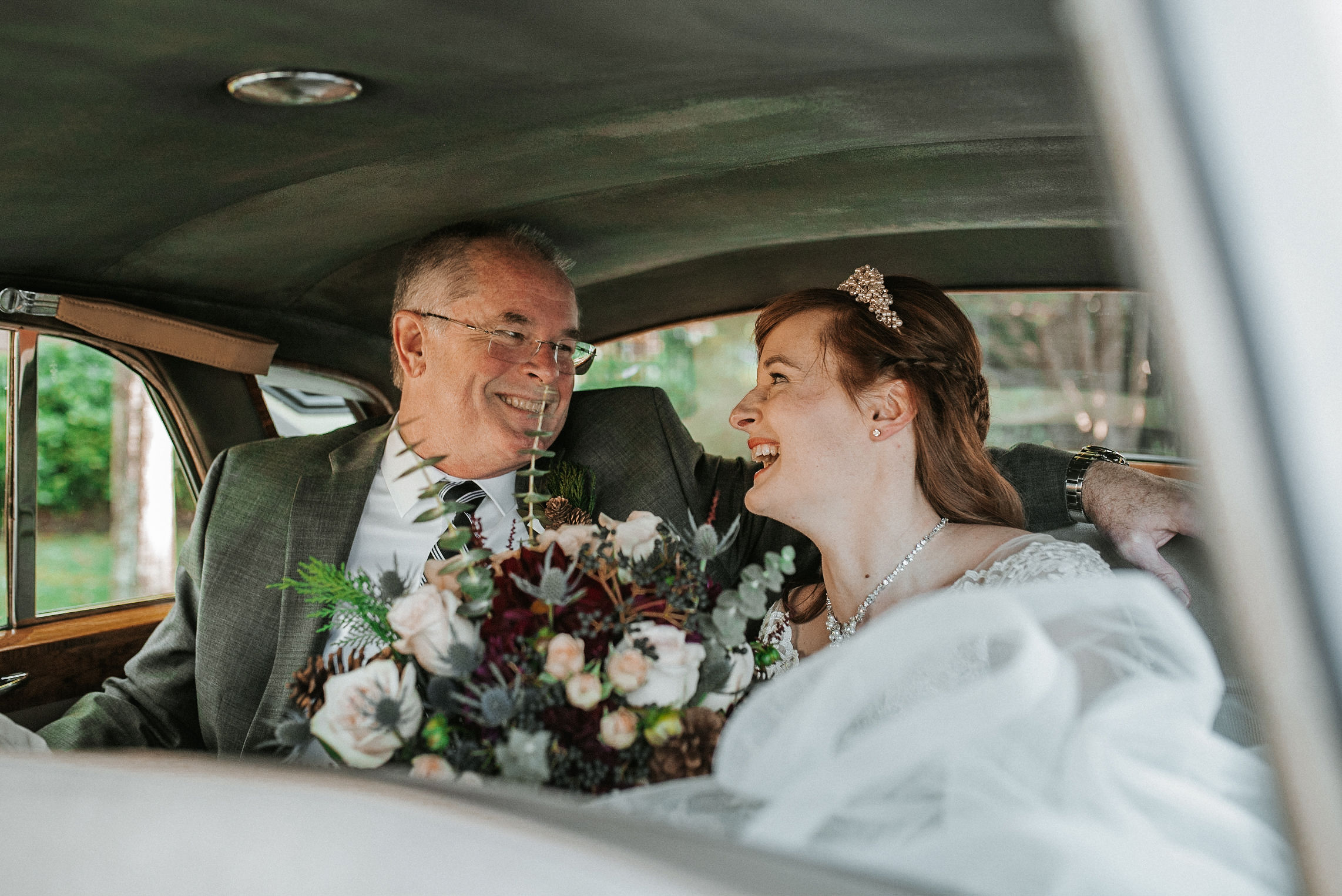 bride and father of the bride laughing at the middleburg barn at fox chase farm