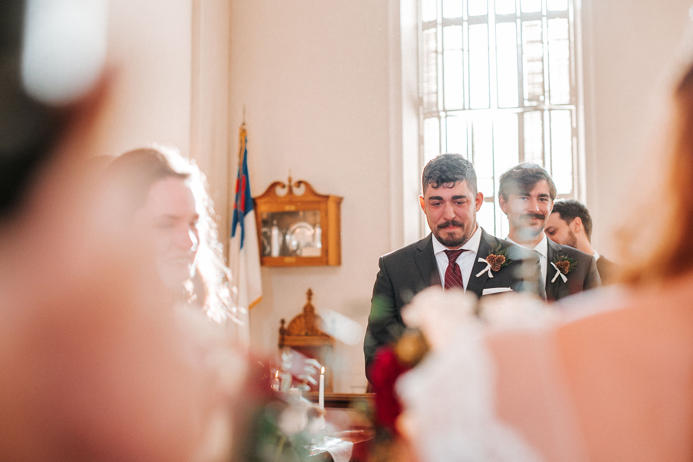 groom crying as he sees bride for first time at the Middleburg United Methodist Church