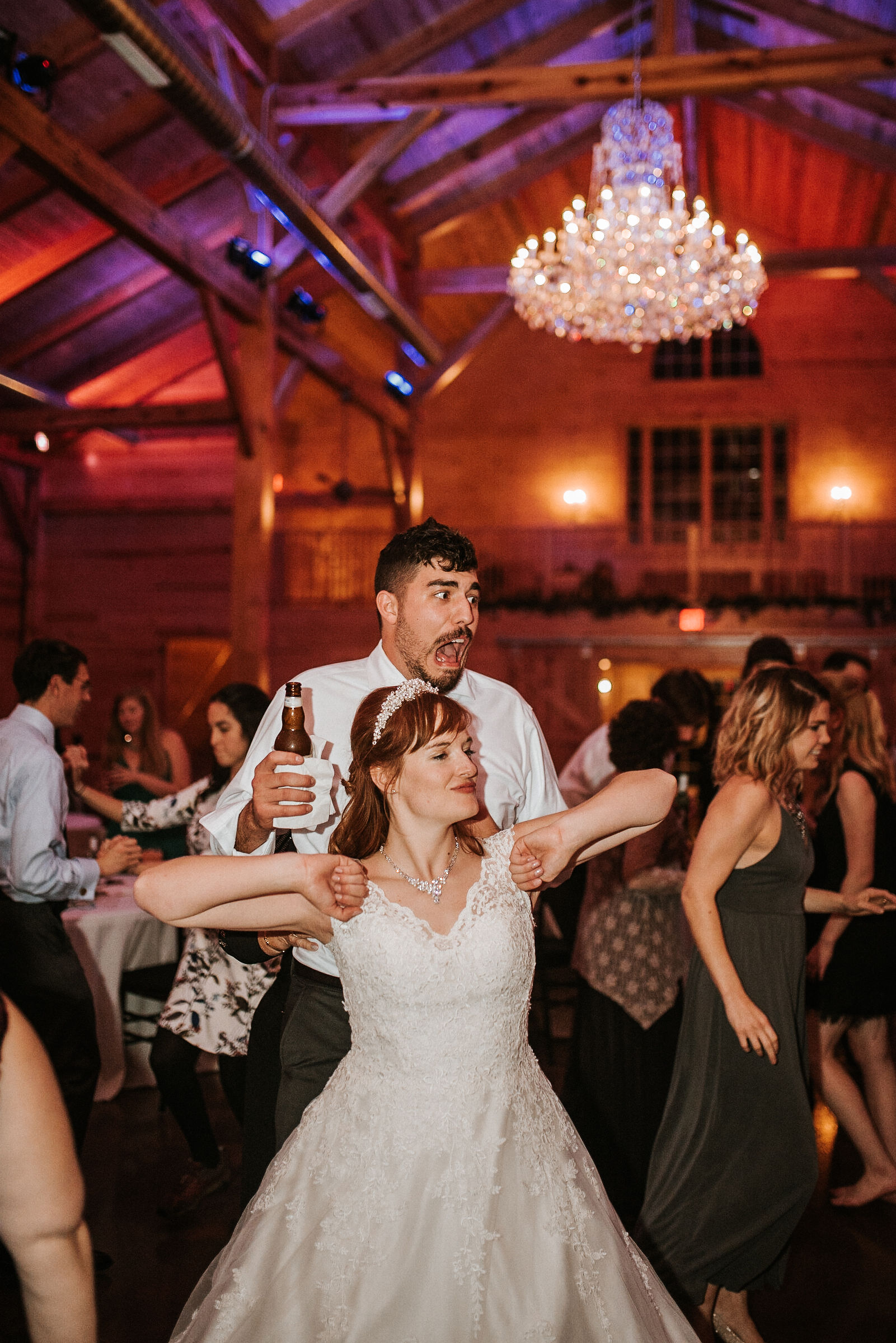 bride and groom dancing at The Middleburg Barn at Fox Chase Farm
