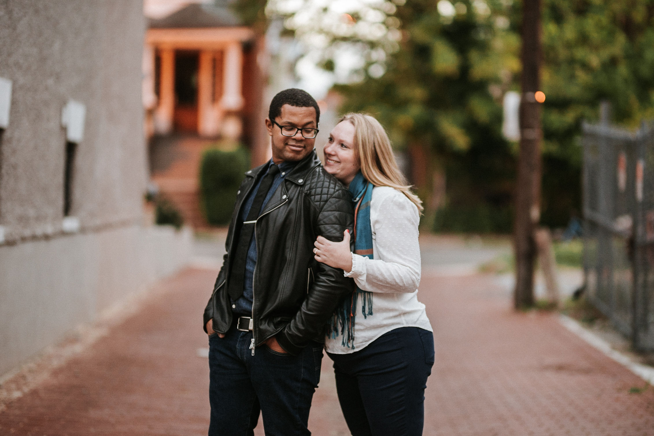 a couple embracing during an engagement session