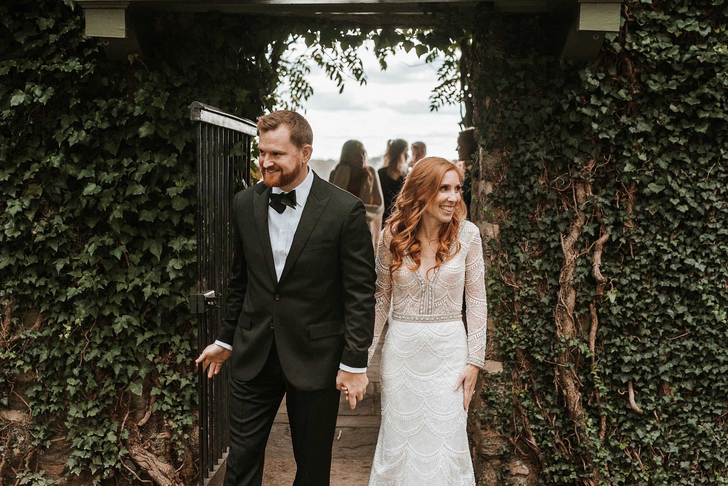 bride and groom enter the ceremony at Goodstone Inn & Restaurant