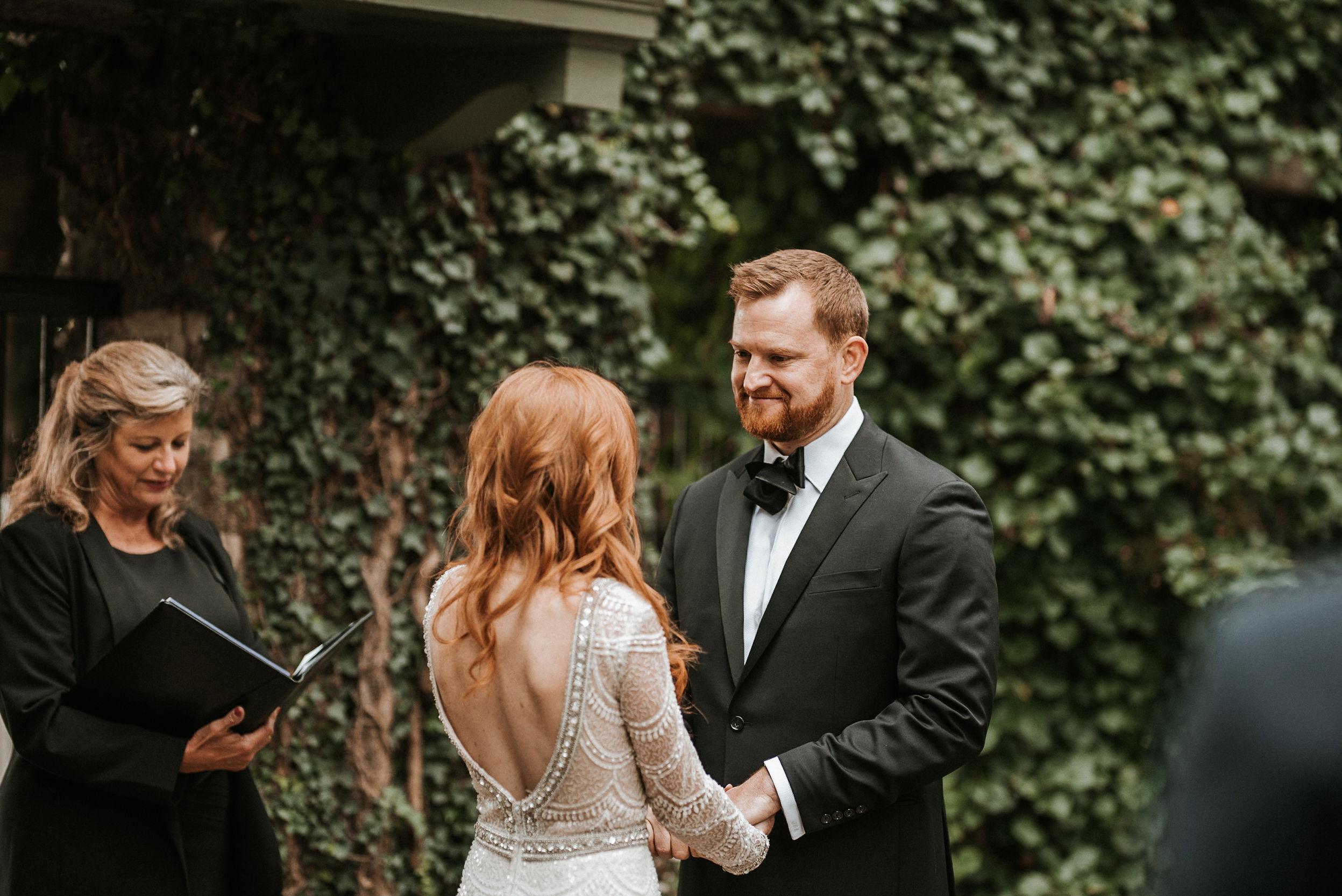 bride and groom at the altar Goodstone Inn & Restaurant