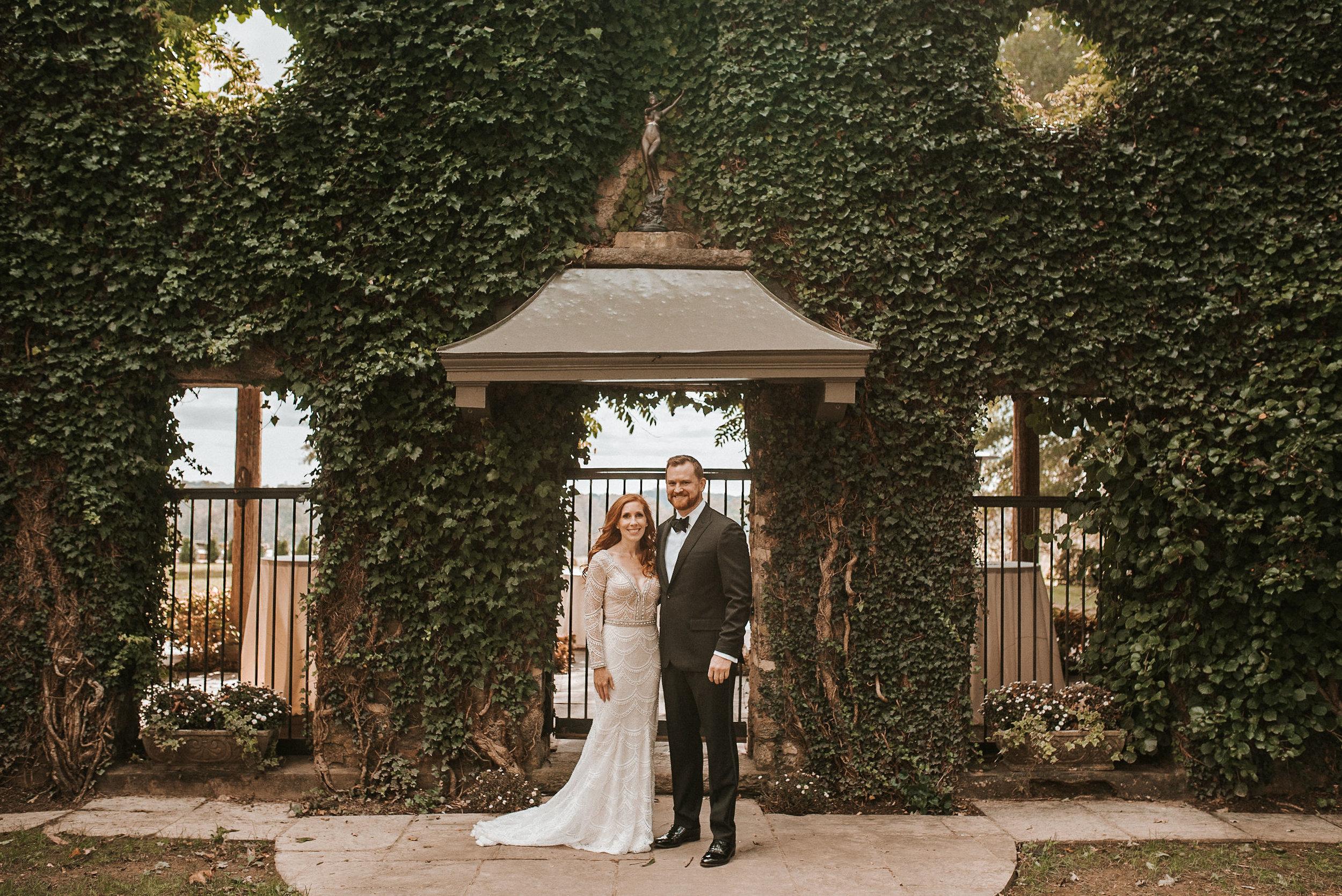 bride and groom smiling at Goodstone Inn & Restaurant