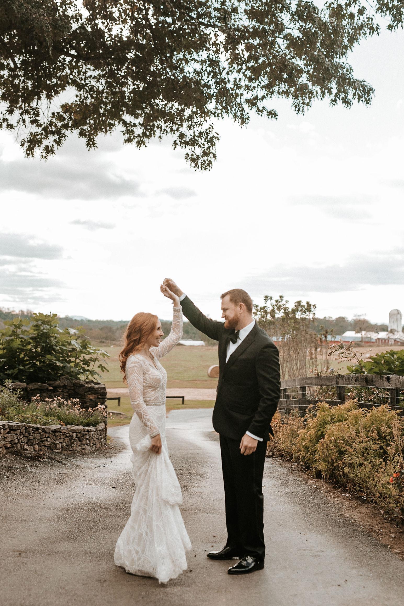 bride and groom twirling at Goodstone Inn & Restaurant