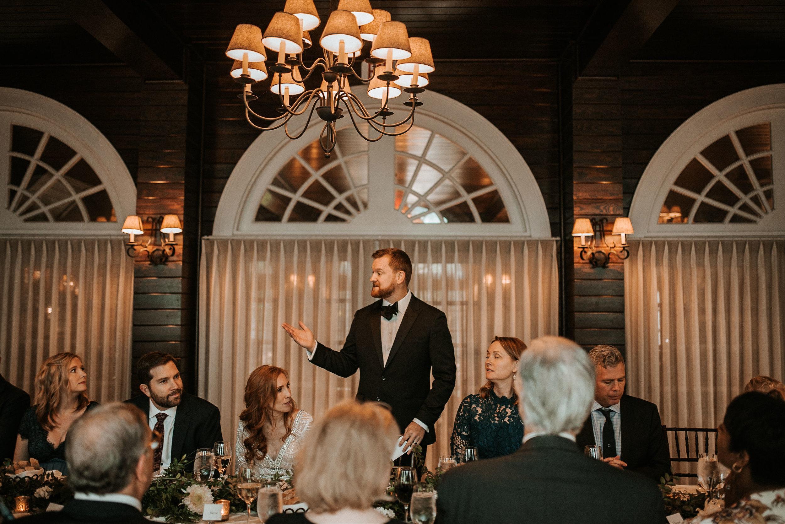 groom making a speech at Goodstone Inn & Restaurant