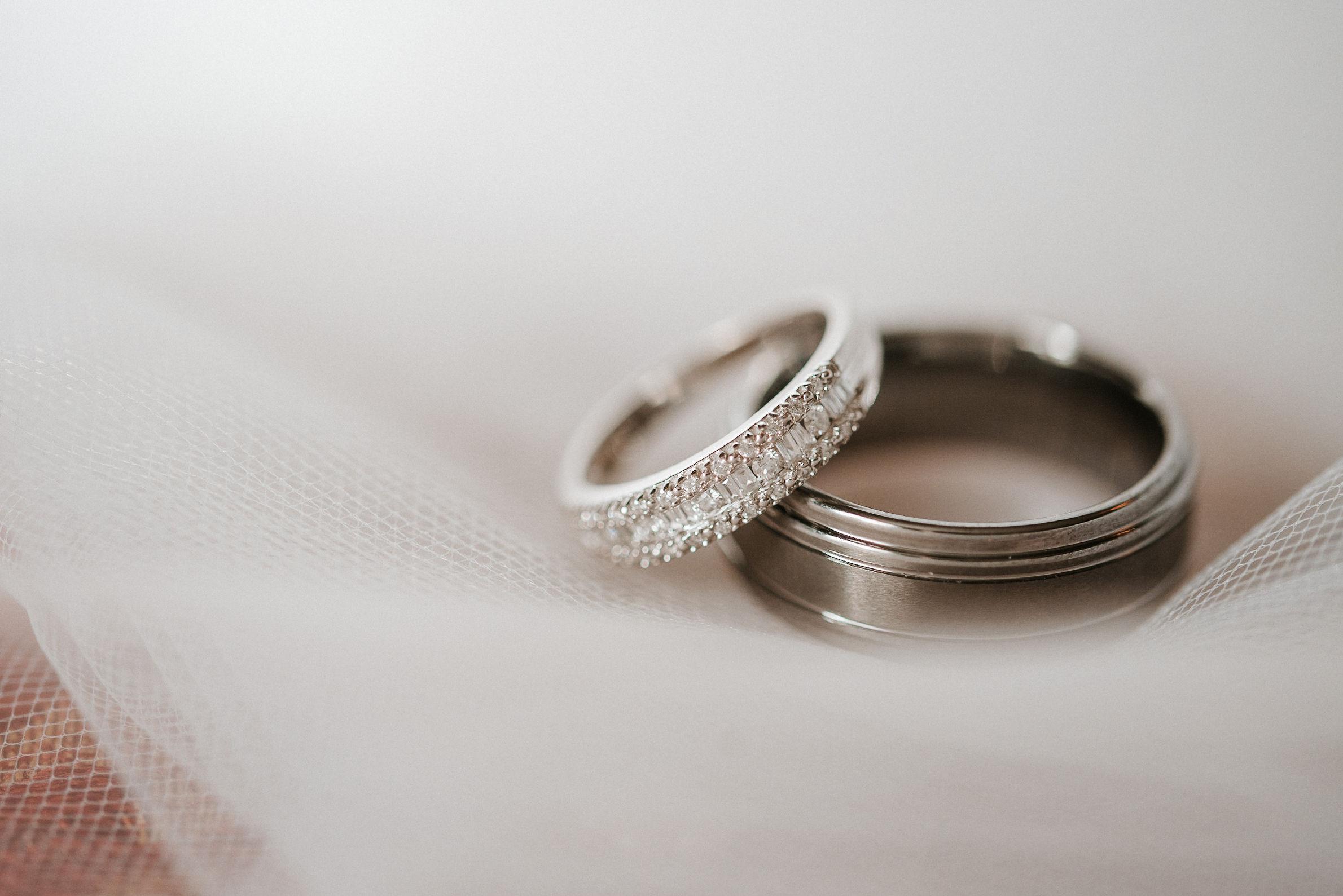 detail shot of weddings rings at Whitehall Estate