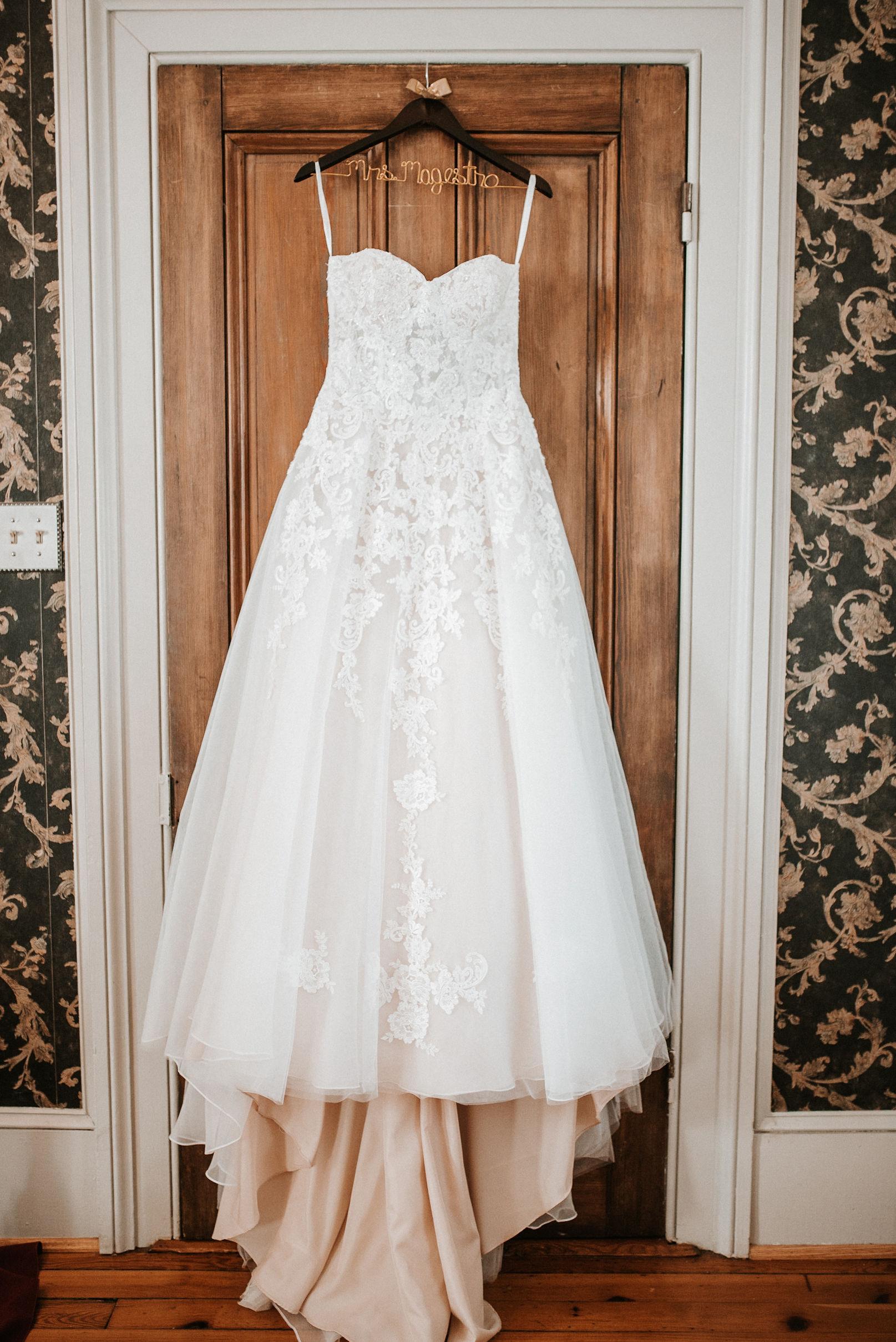 detail shot of wedding dress at Whitehall Estate