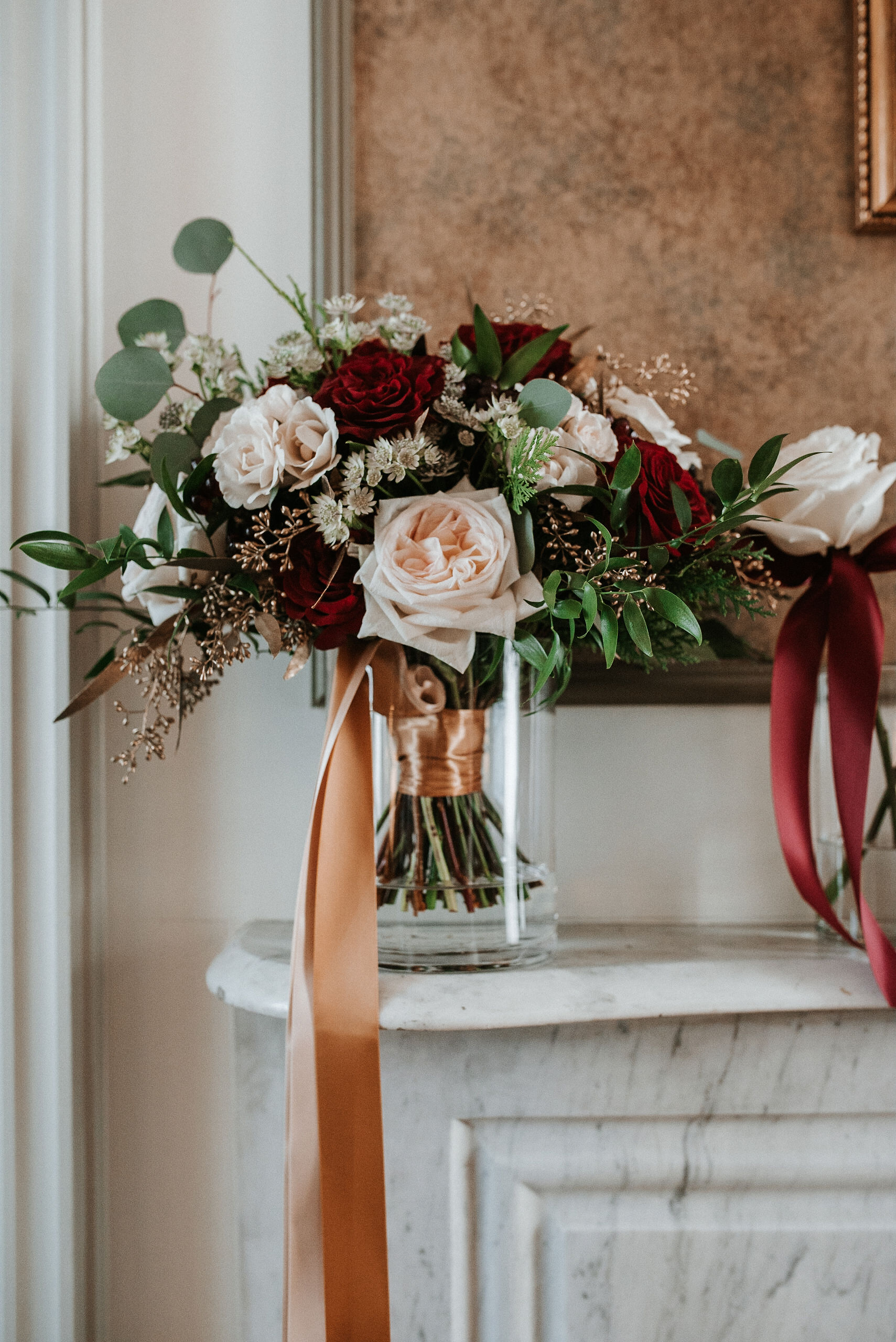 detail shot of bride's bouquet at Whitehall Estate
