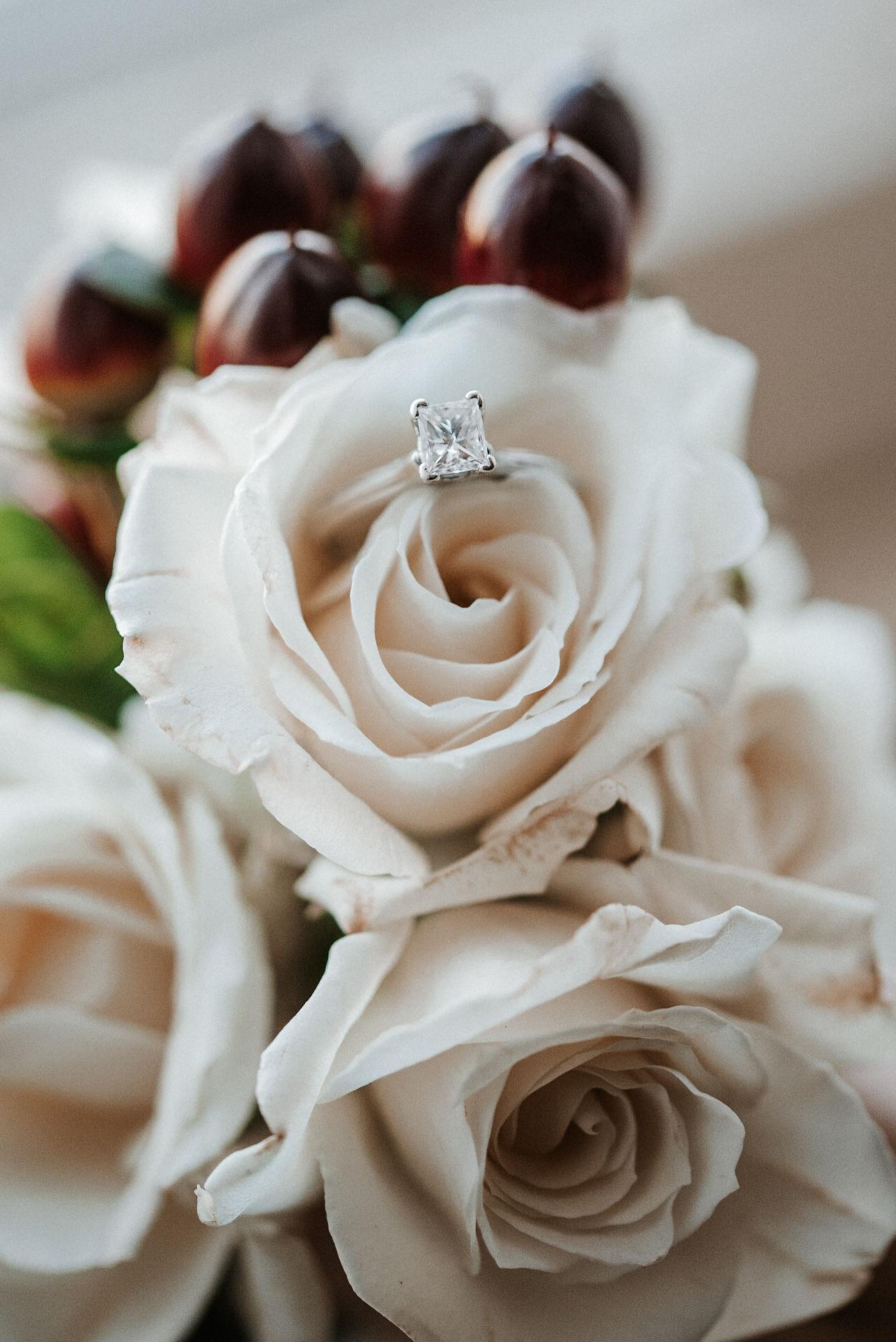 detail shot of wedding ring at Whitehall Estate