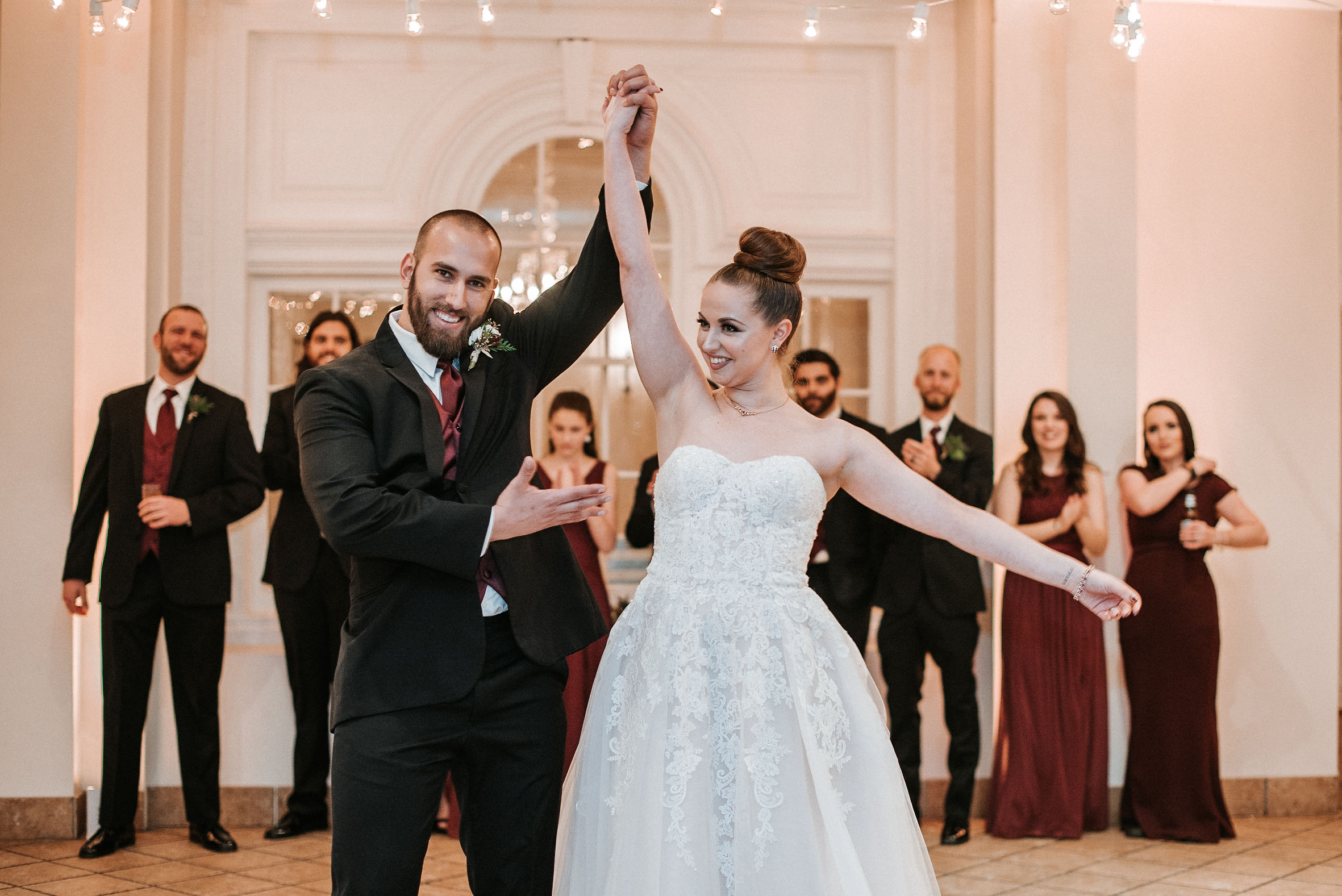 bride and groom entering reception at Whitehall Estate