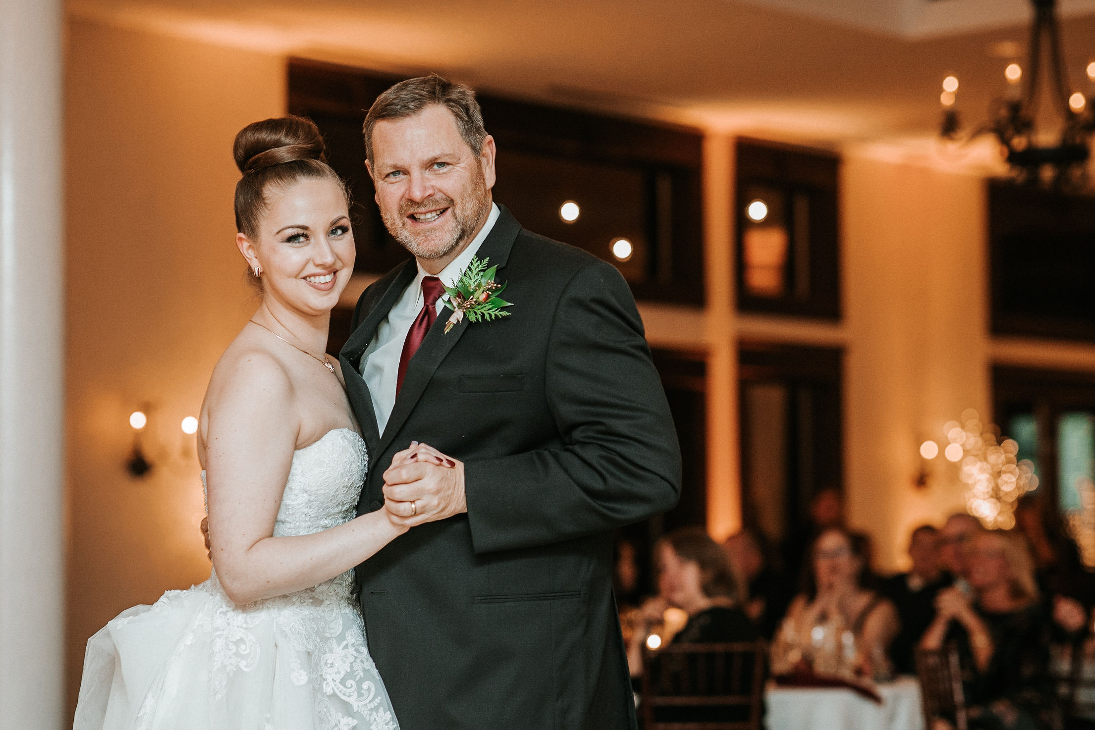 bride and father of the bride dancing at Whitehall Estate