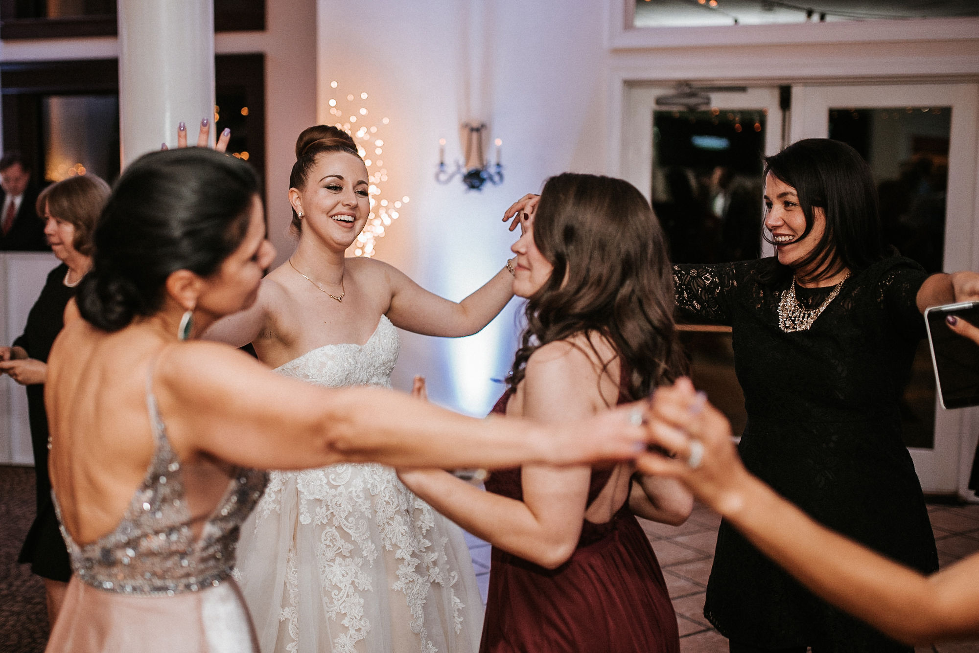 bride and guests dancing at Whitehall Estate