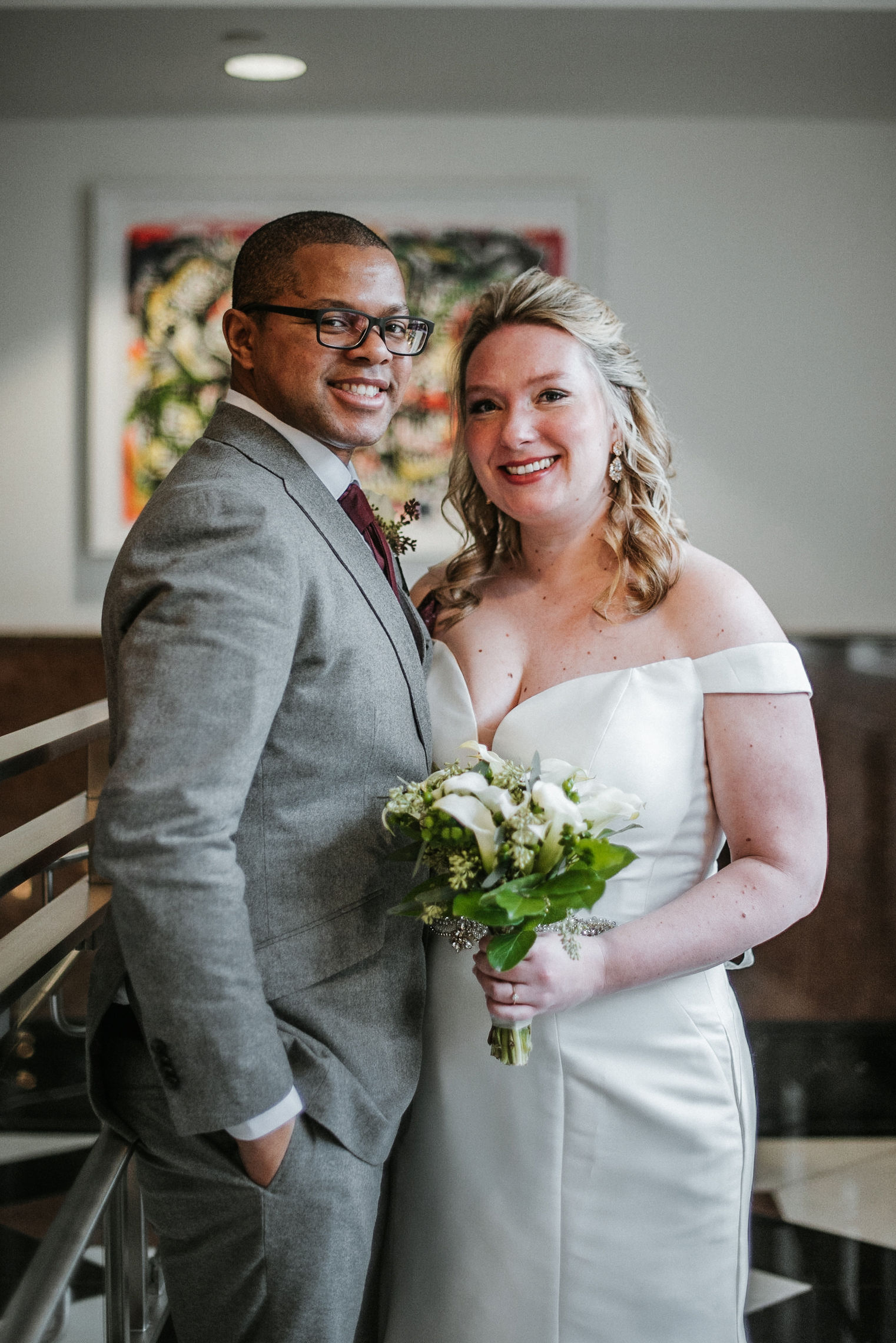 bride and groom smiling at the kimpton carlyle hotel