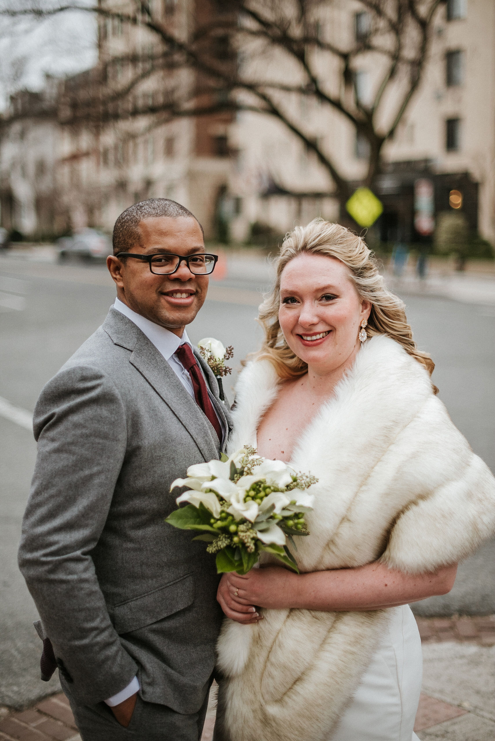 bride and groom smiling at the josephine butler parks center