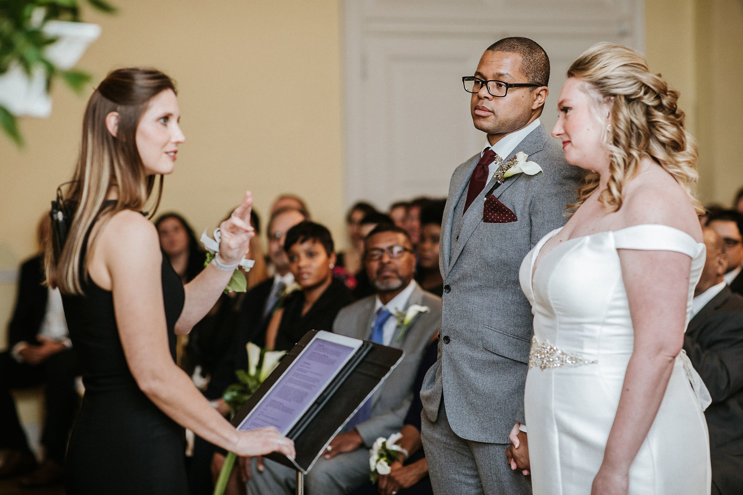 bride and groom at the altar at the josephine butler parks center
