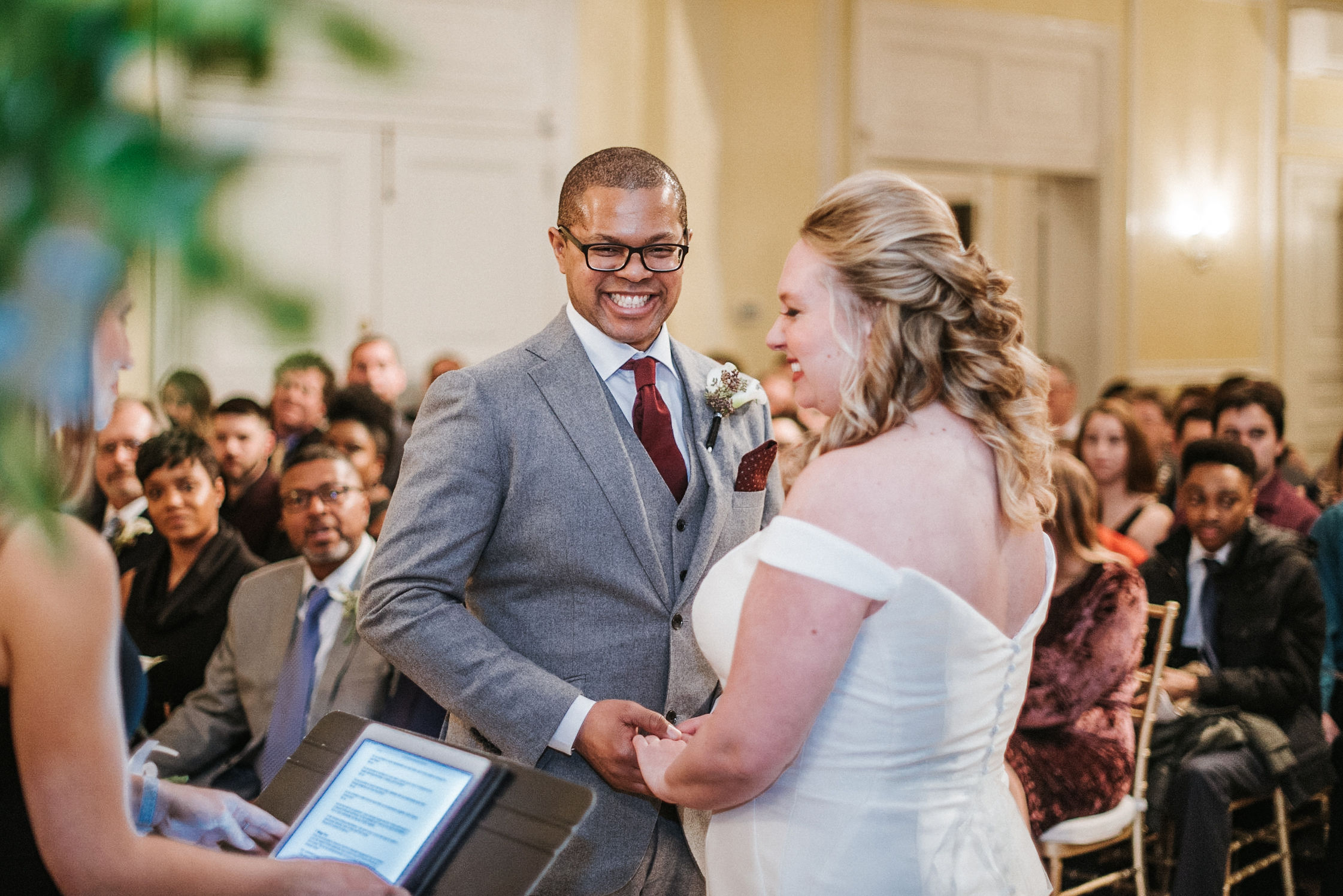 bride and groom exchanging vows at the josephine butler parks center