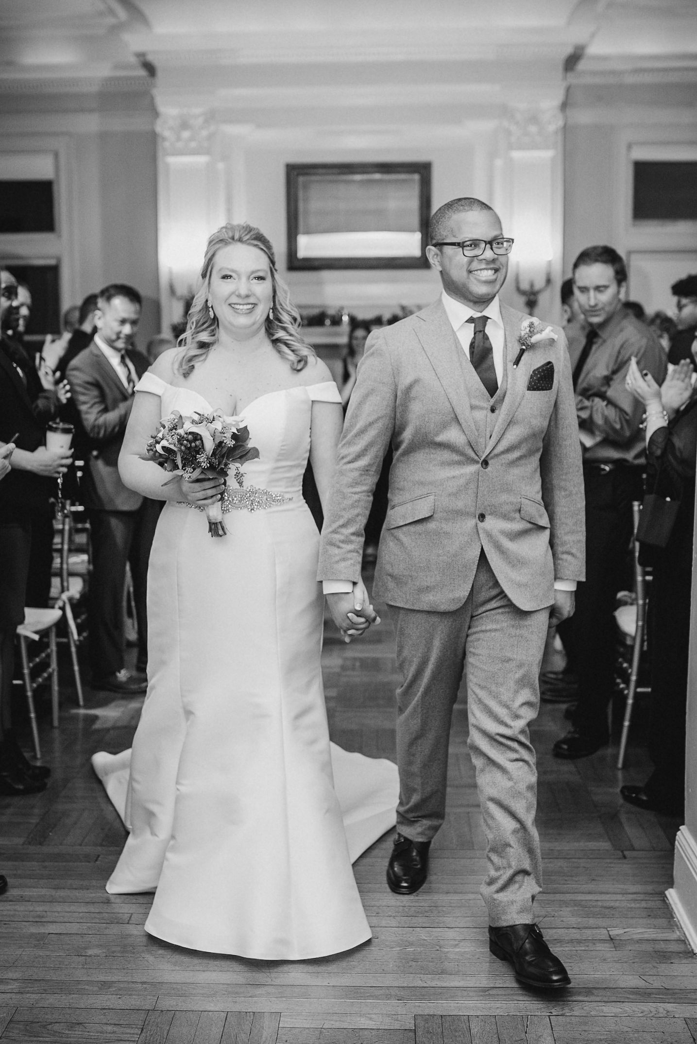 bride and groom after saying I do at the josephine butler parks center