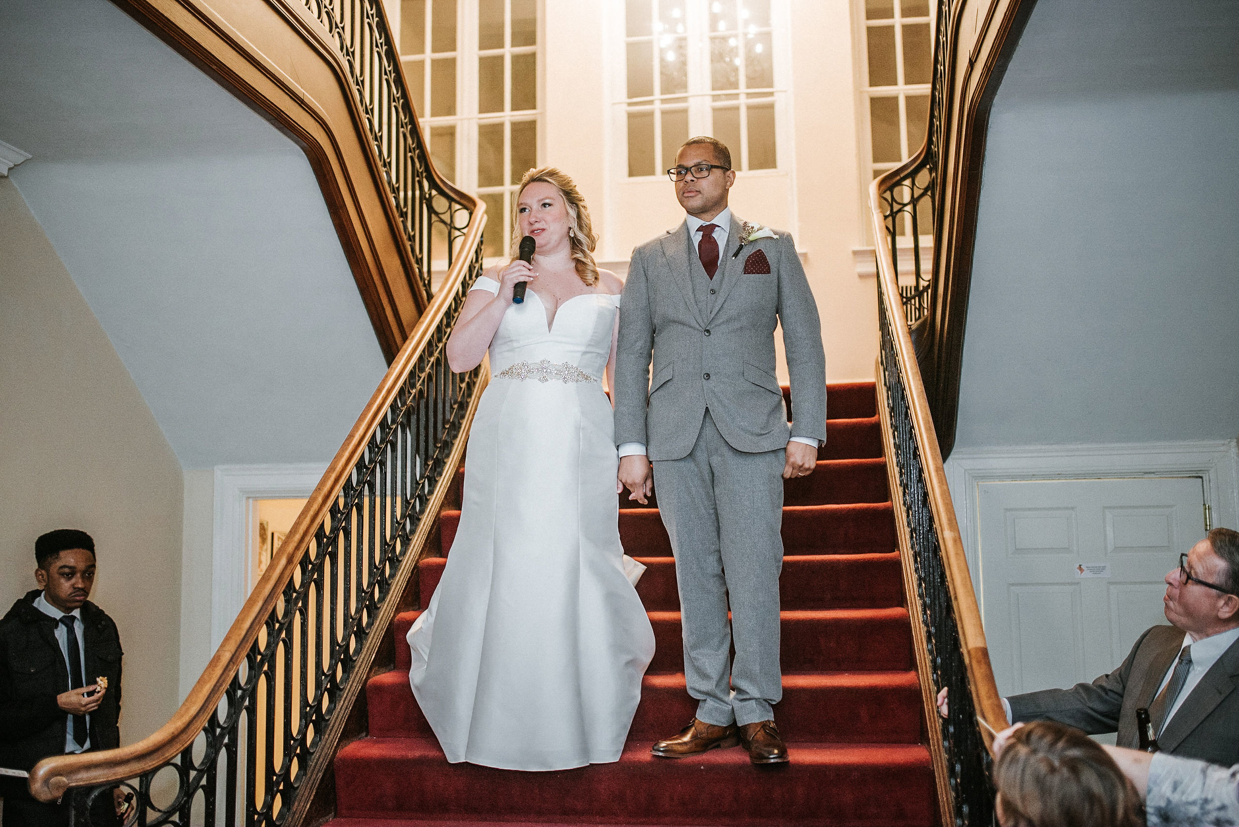 bride and groom making a speech at the josephine butler parks center