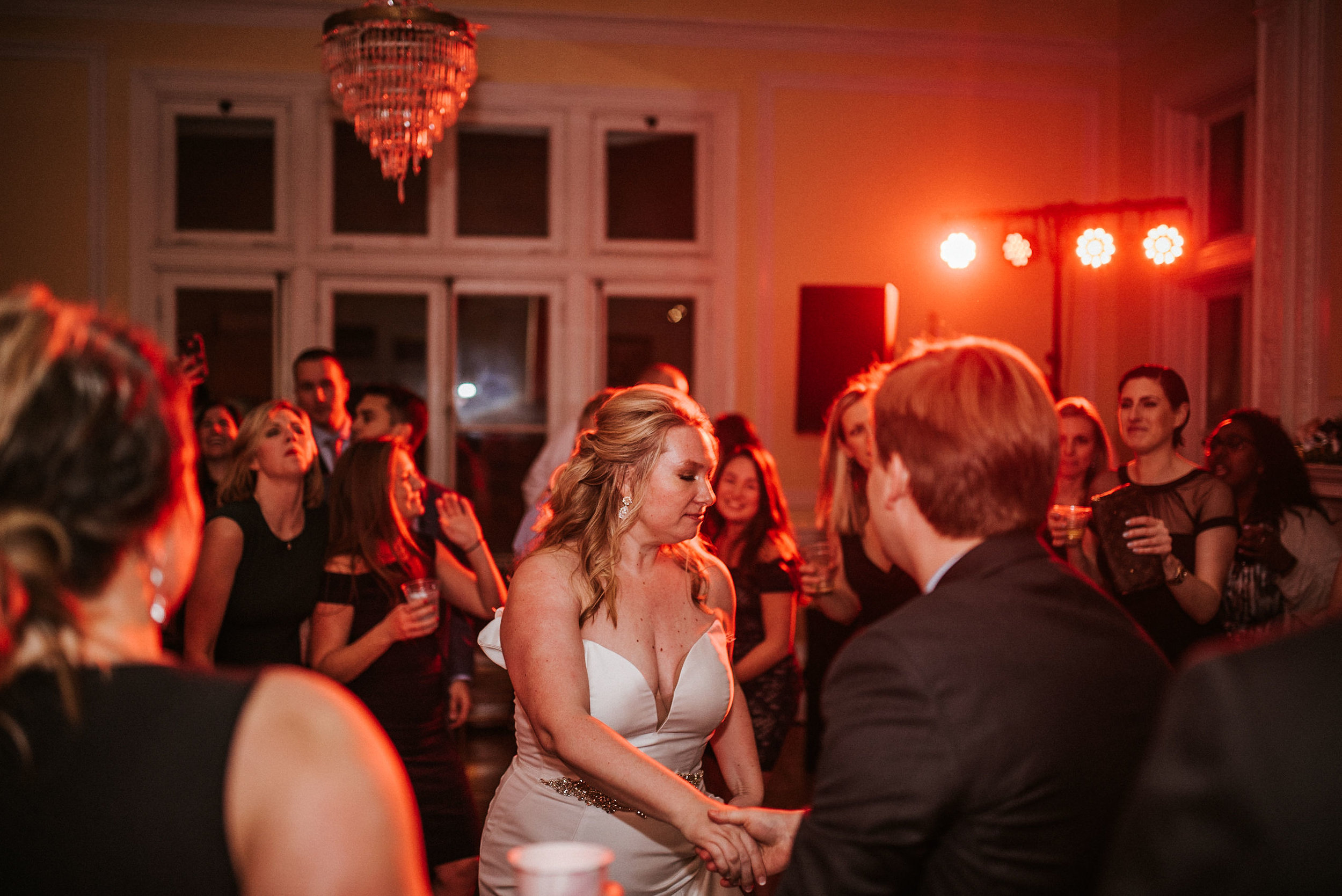bride and groom dancing at reception at the josephine butler parks center