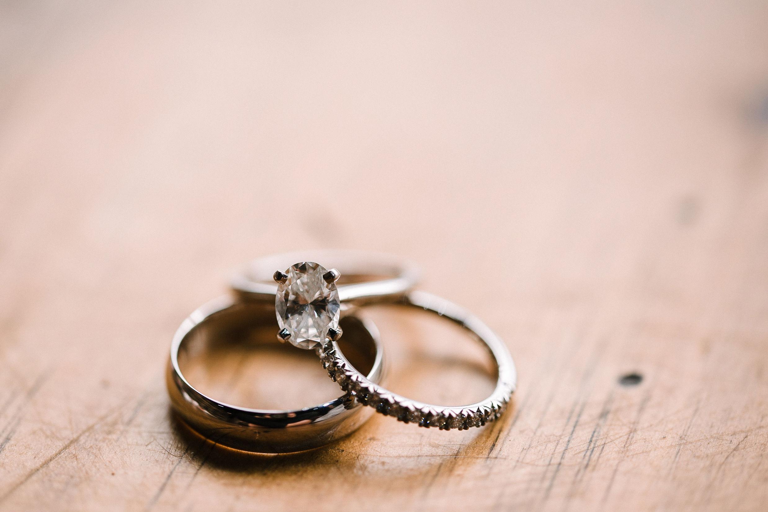 detail shot of wedding rings at City Winery in Washington DC