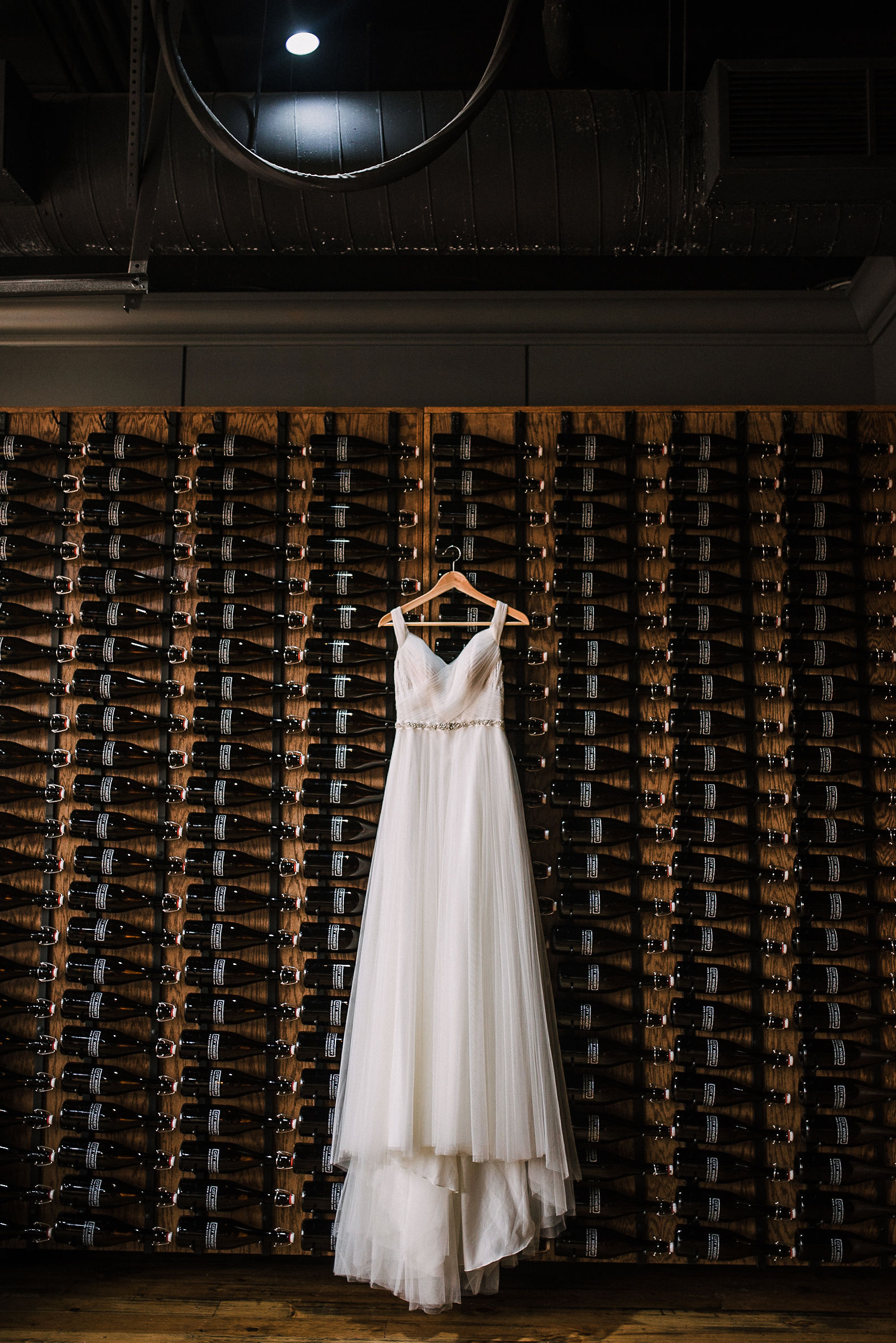 wedding dress detail shot at City Winery in Washington DC