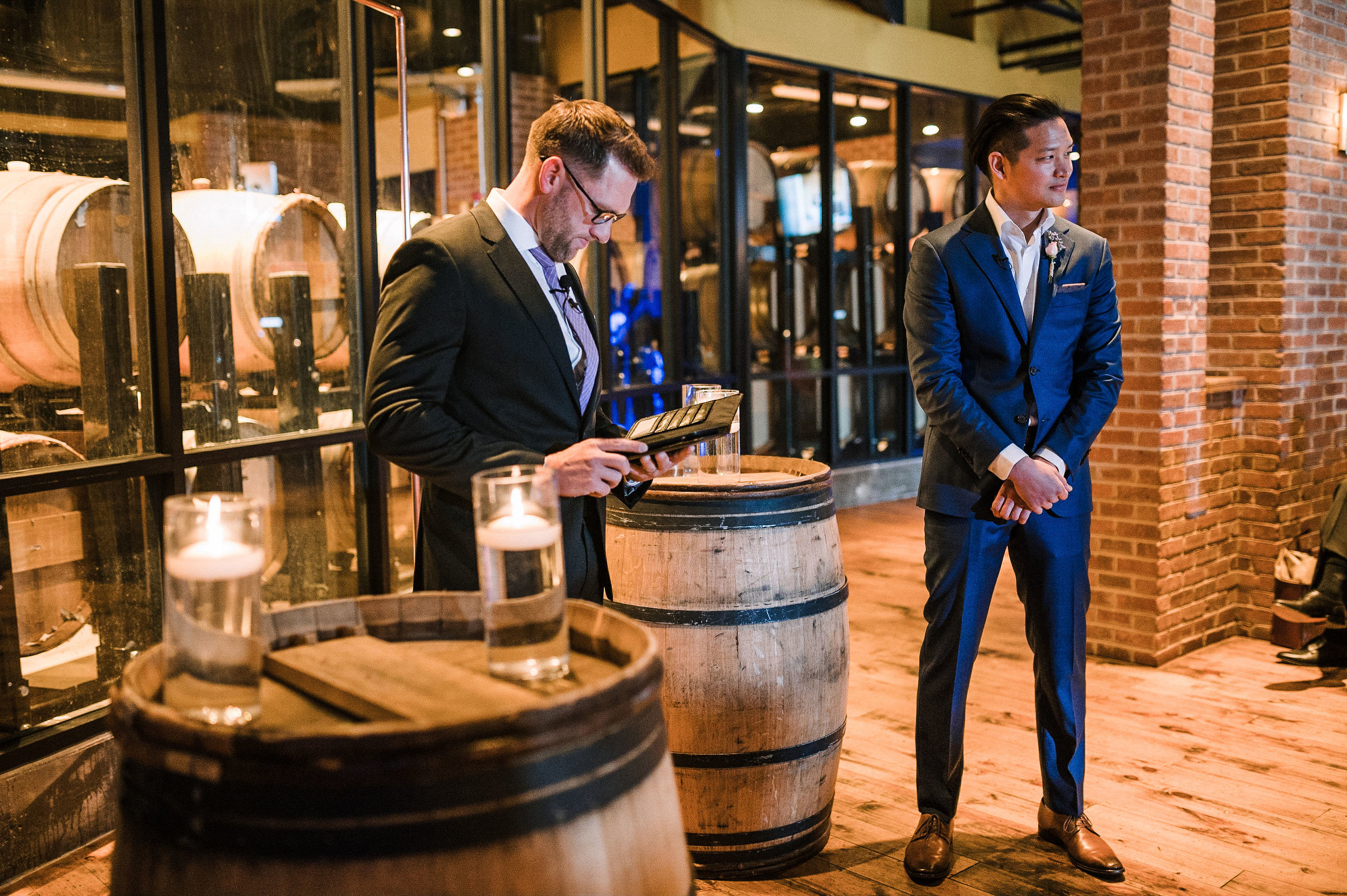 groom waiting for bride at alter at City Winery in Washington DC