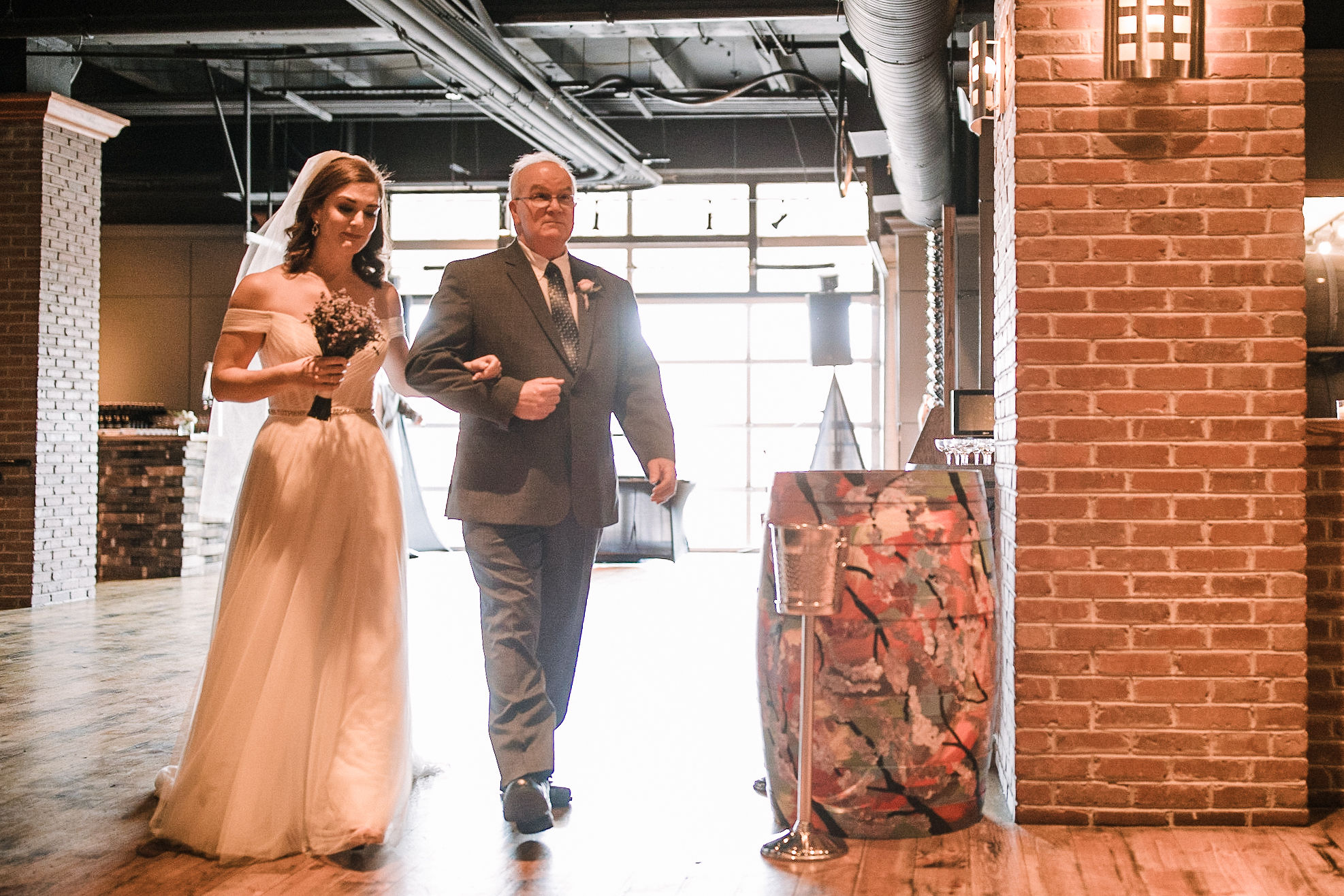 bride walking up the aisle at City Winery in Washington DC