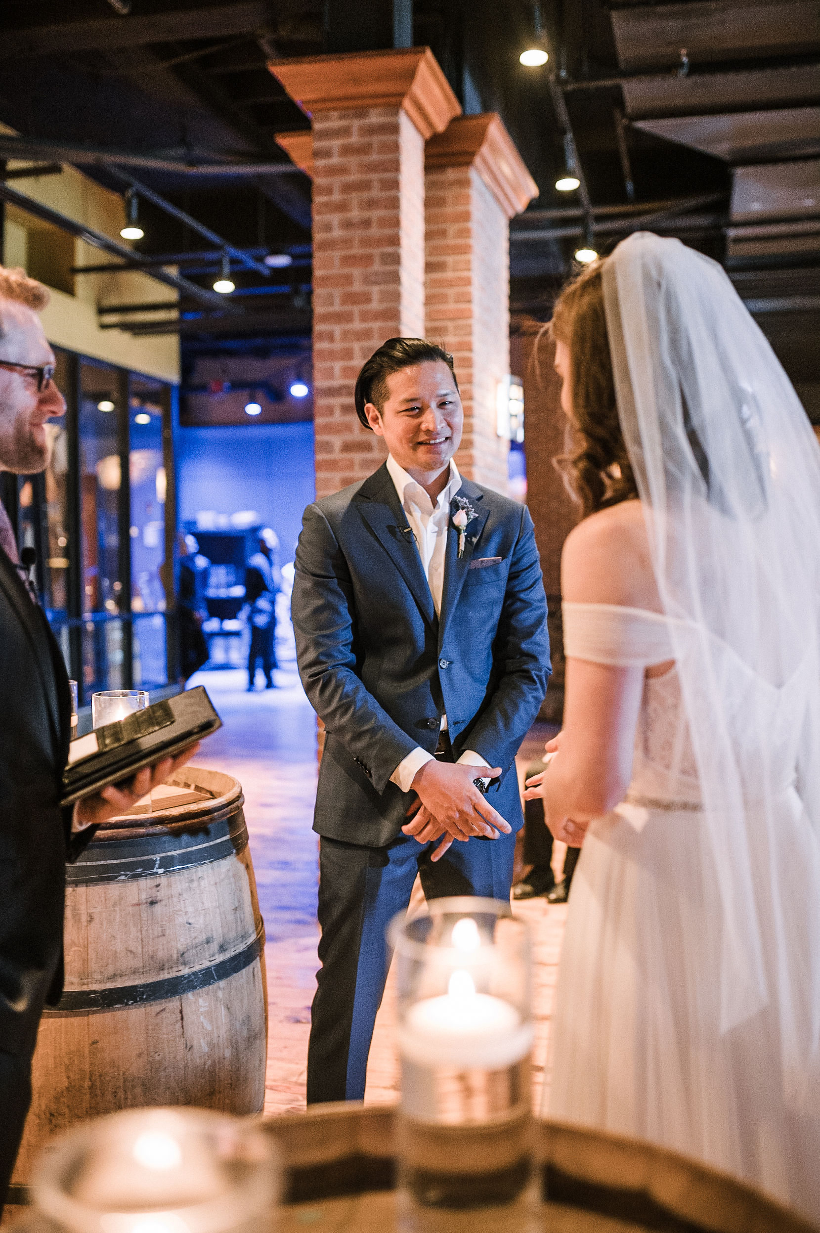groom seeing bride for first time at City Winery in Washington DC