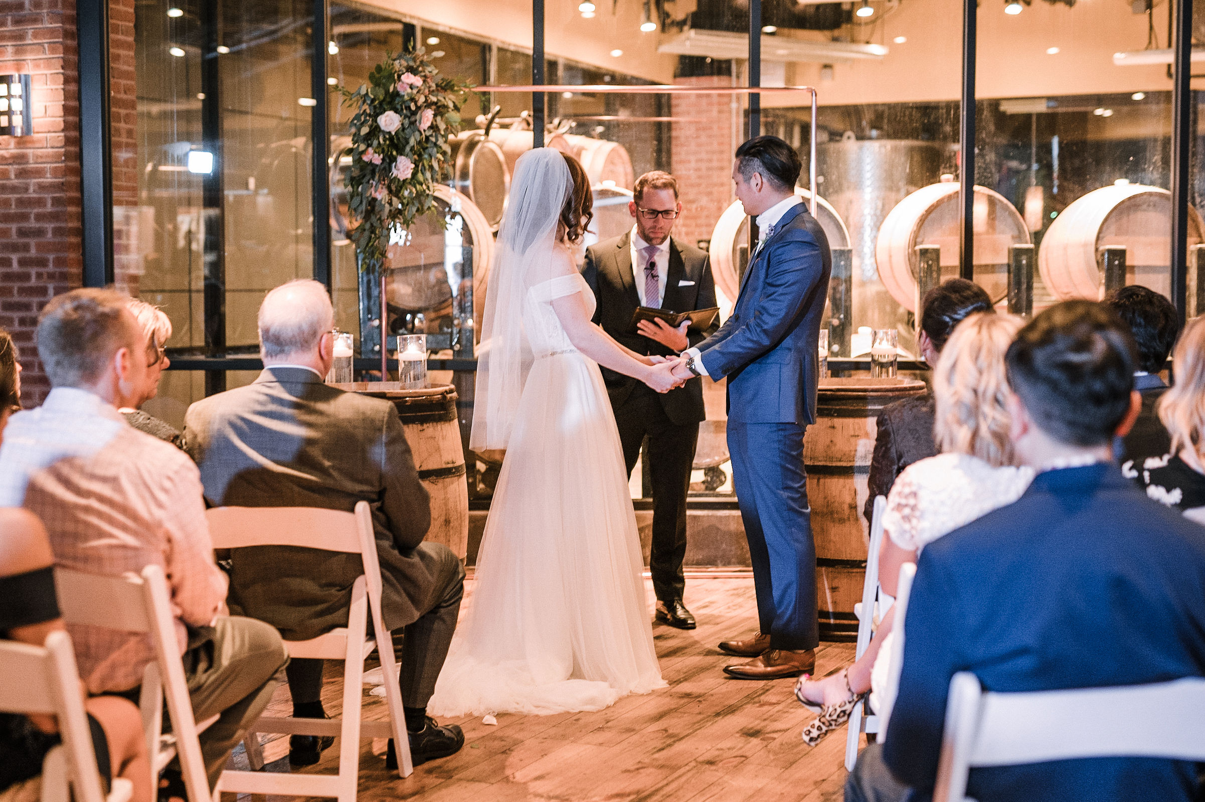 bride and groom at the alter at City Winery in Washington DC