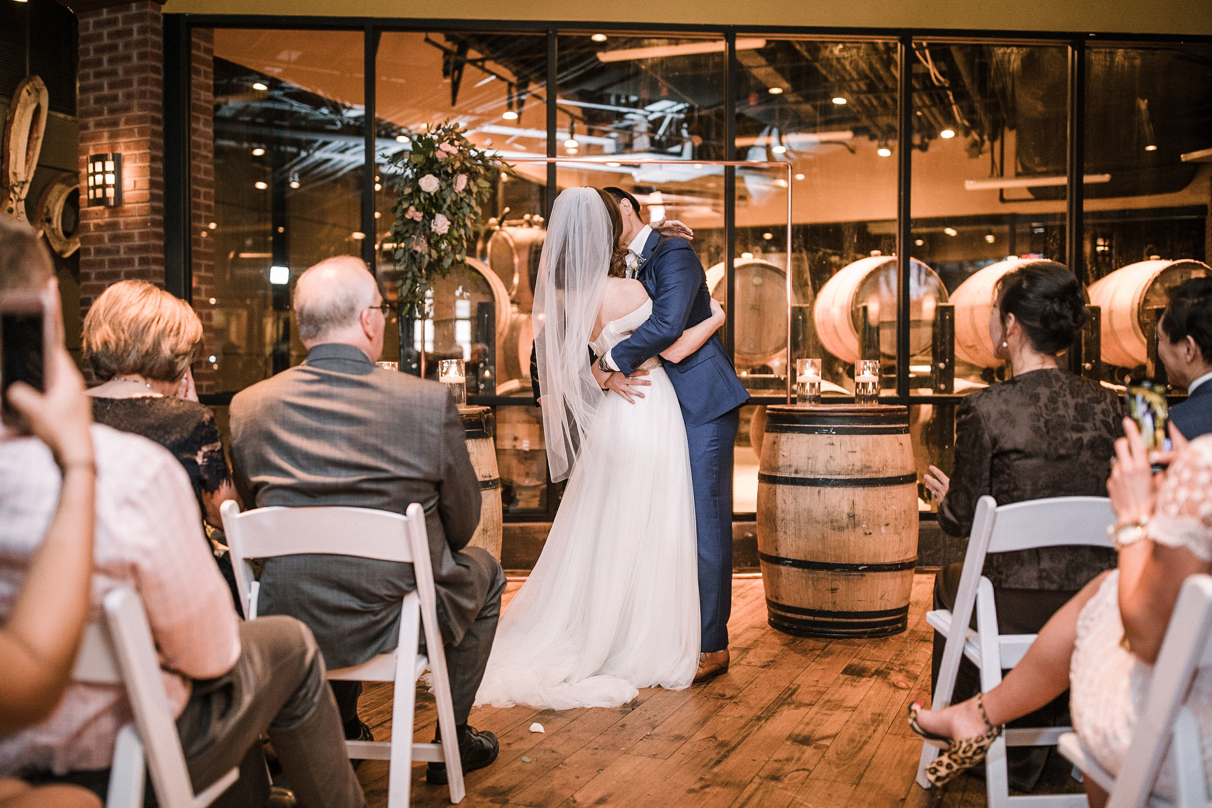 bride and groom kissing at the alter at City Winery in Washington DC