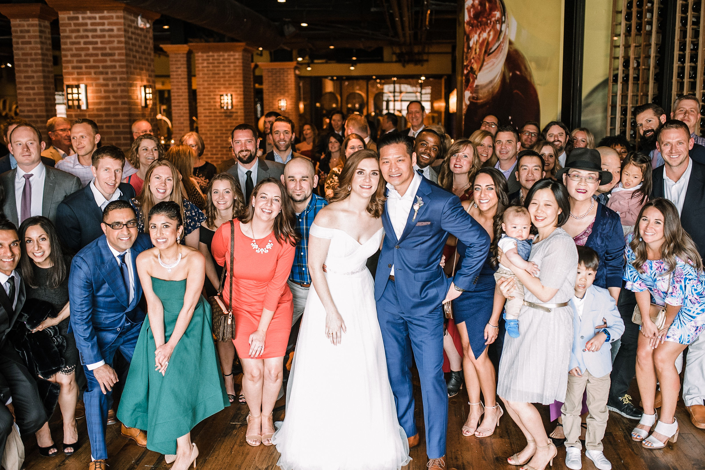 bride and groom with all their guests at City Winery in Washington DC