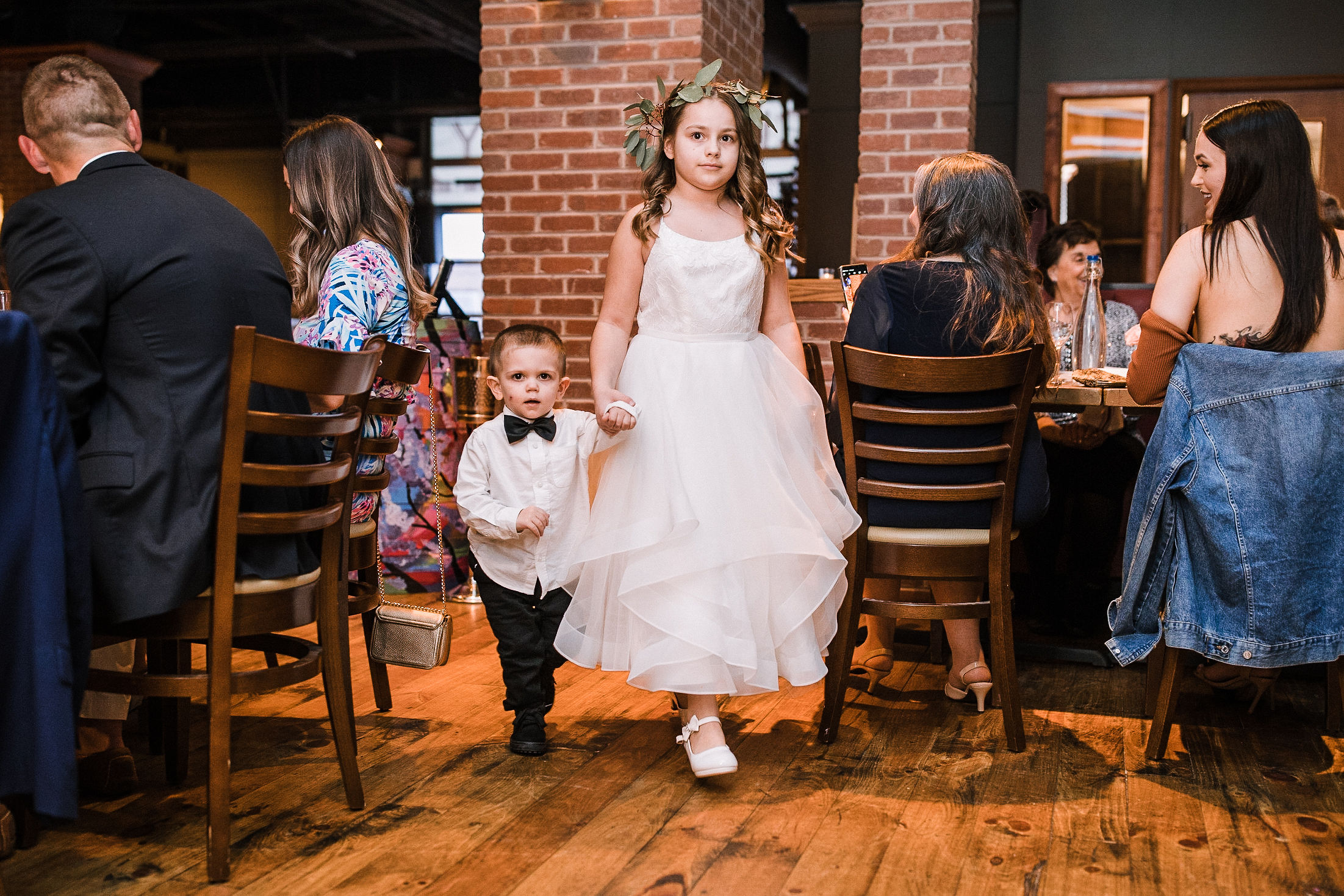 flower girl and ring bearer at City Winery in Washington DC