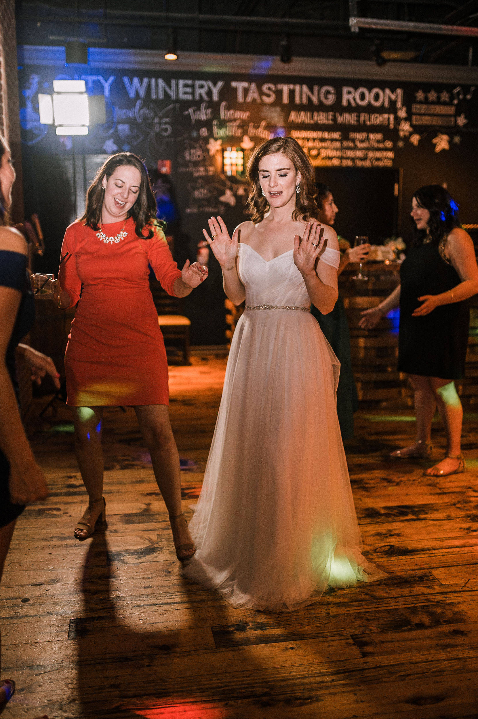 bride and guests dancing at City Winery in Washington DC