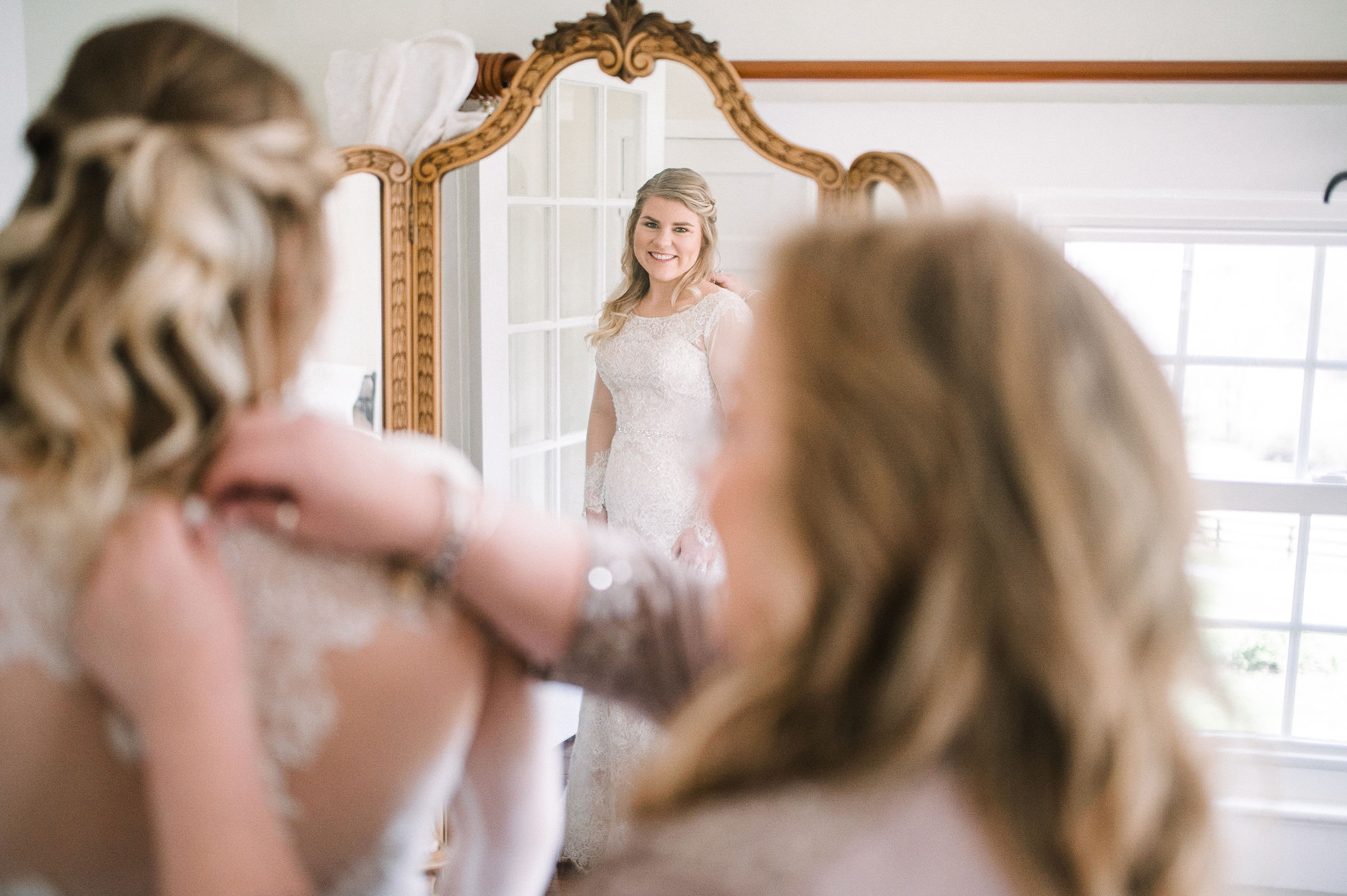 bride getting ready at Rixey Manor