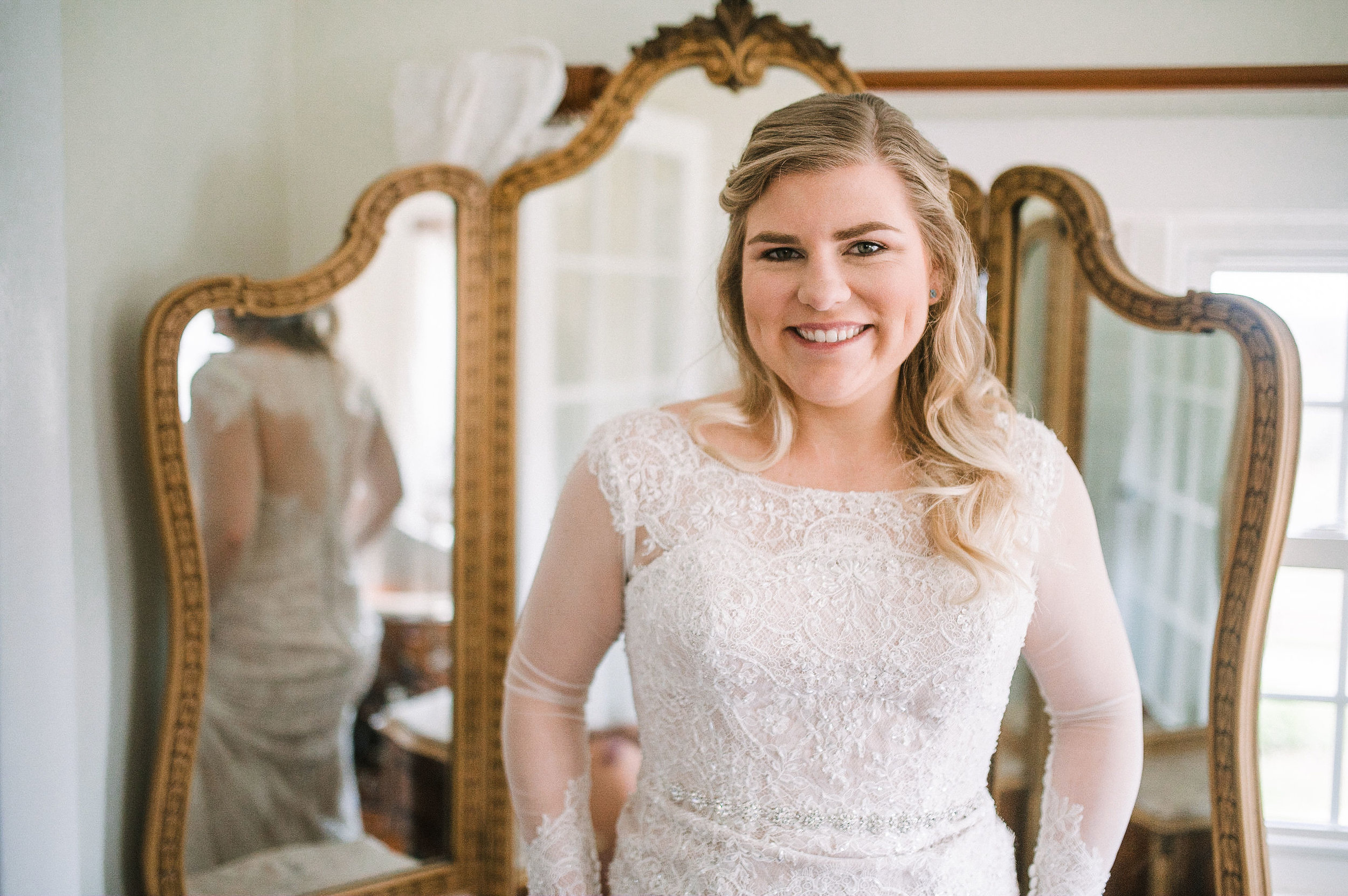bride smiling at Rixey Manor