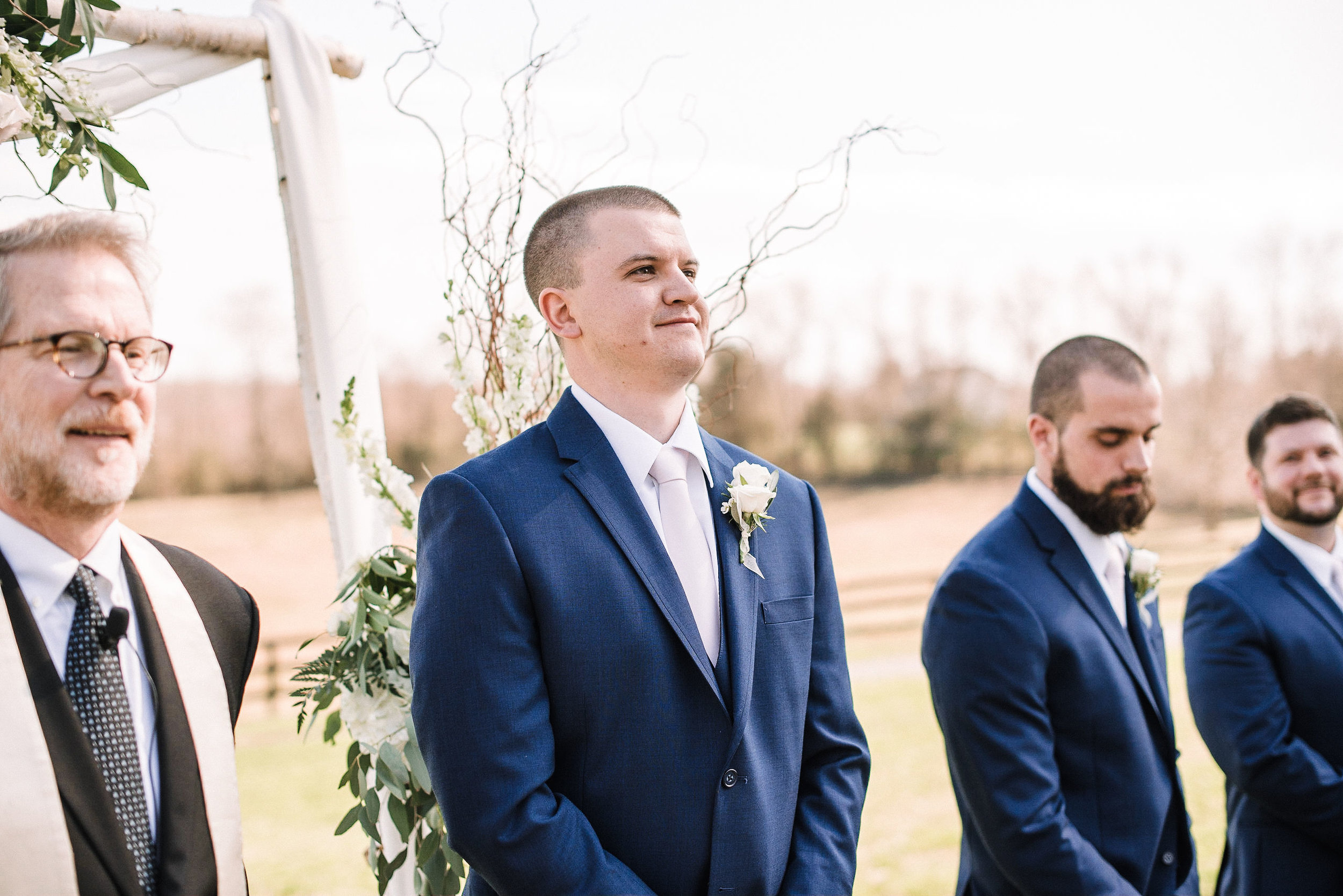 groom seeing bride walk down the aisle at Rixey Manor