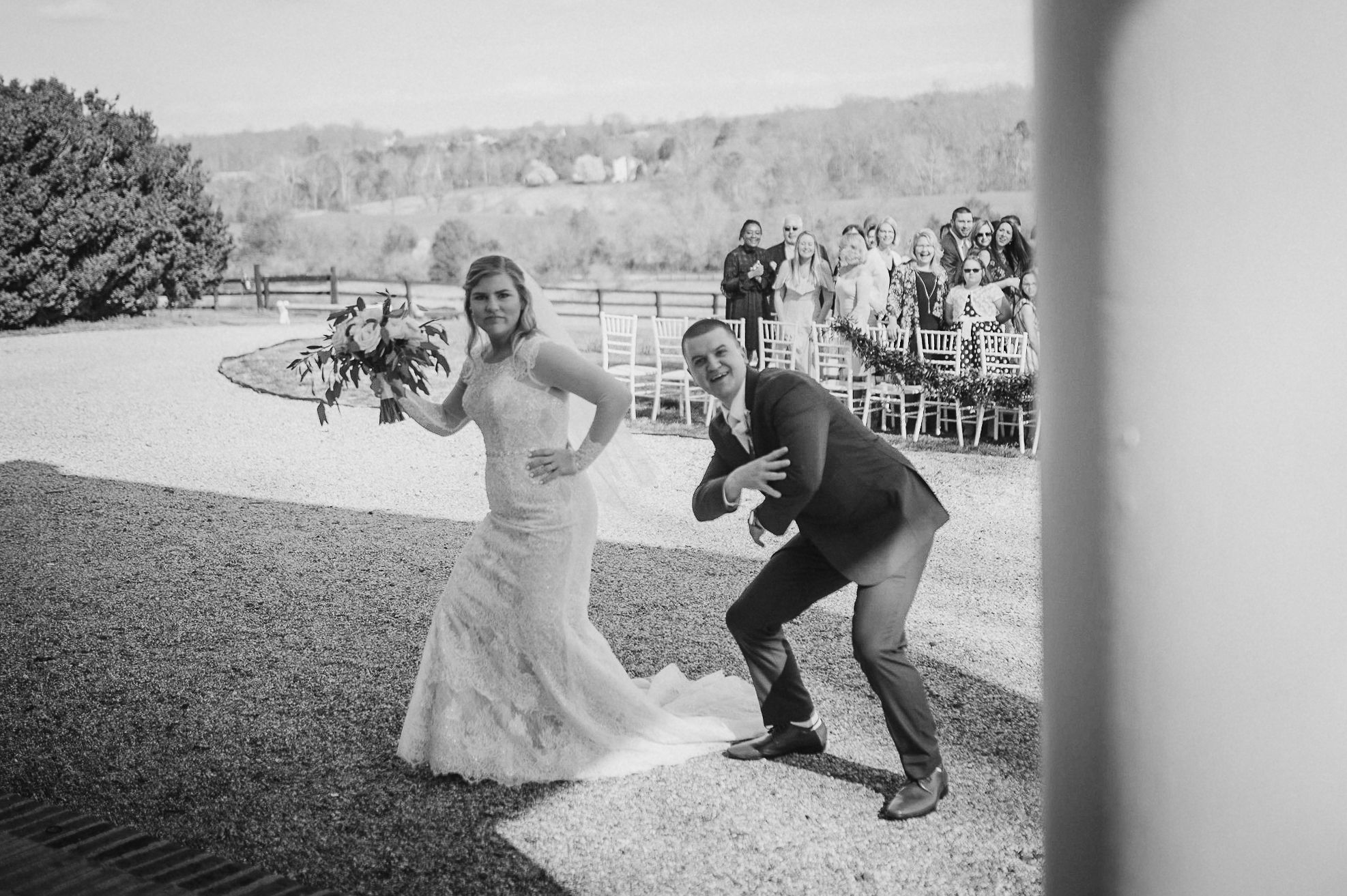 bride and groom being funny at Rixey Manor