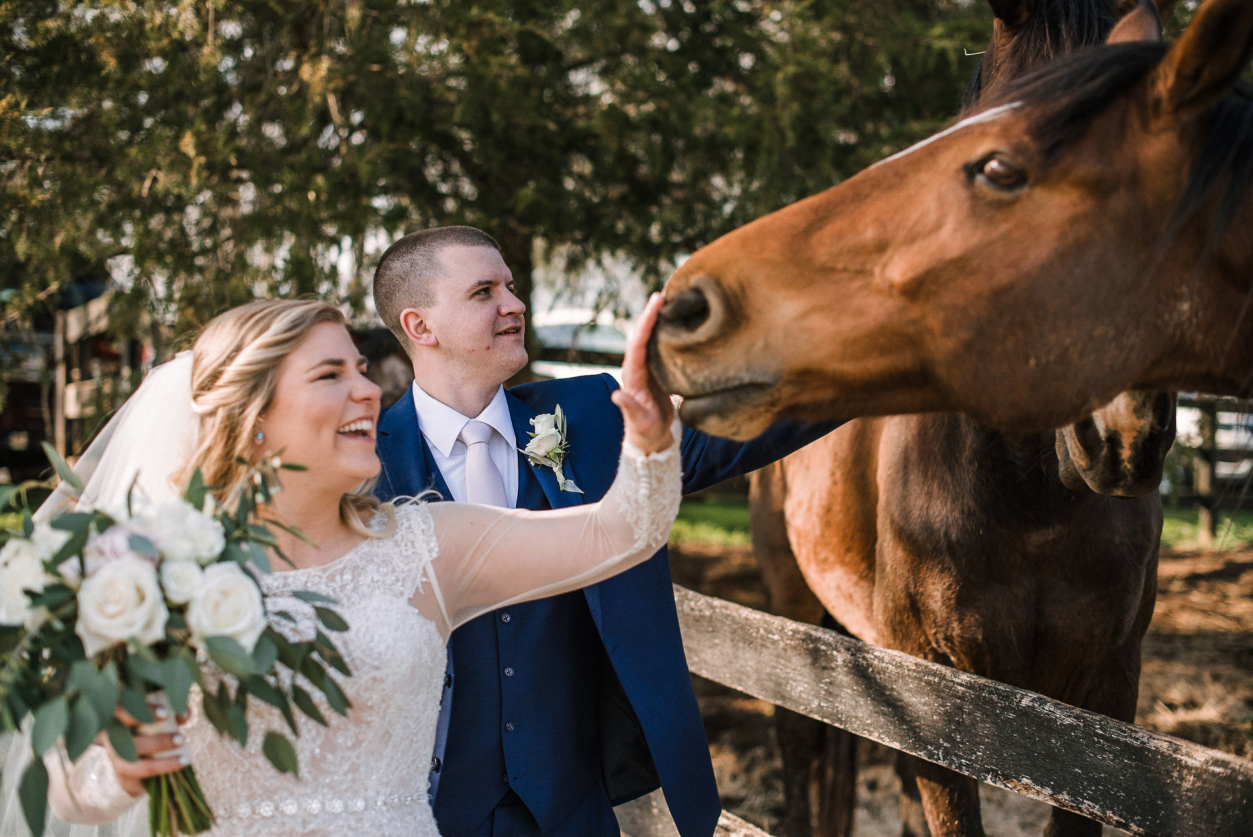 bride and groom petting horses at Rixey Manor