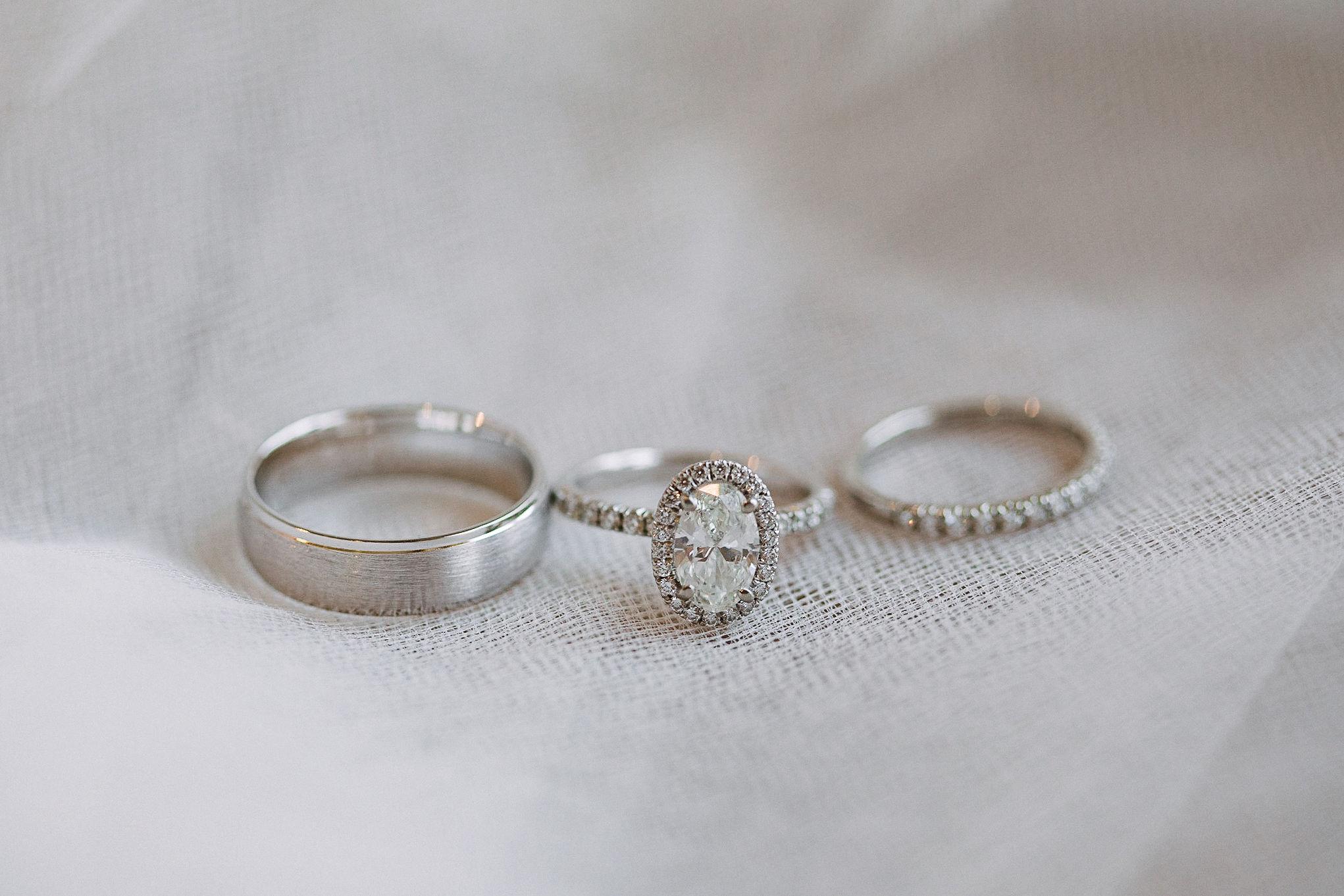 detail shot of wedding rings at Westfields Golf Club
